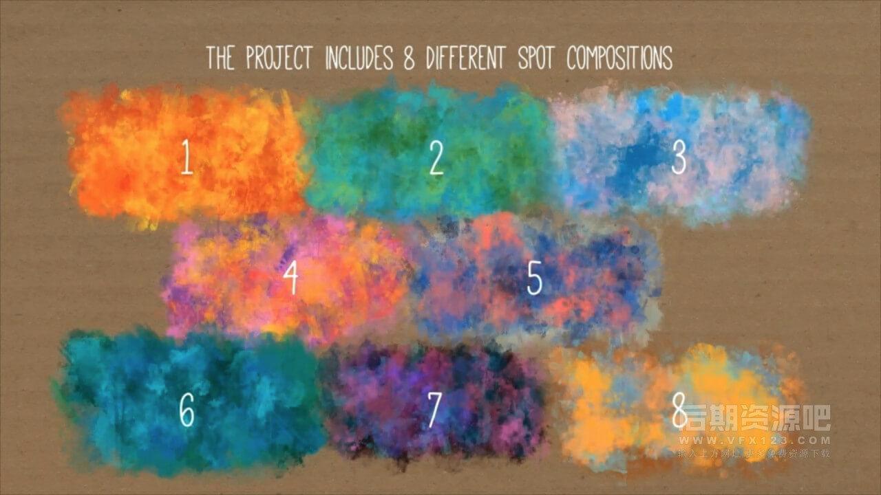 AE模板 水彩水墨艺术背景动画制作工具 Watercolor Background
