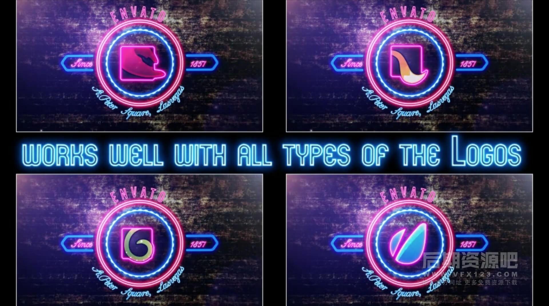 Ae模板 霓虹灯效果LOGO标题排版动画制作工具 Neon Lights Badges