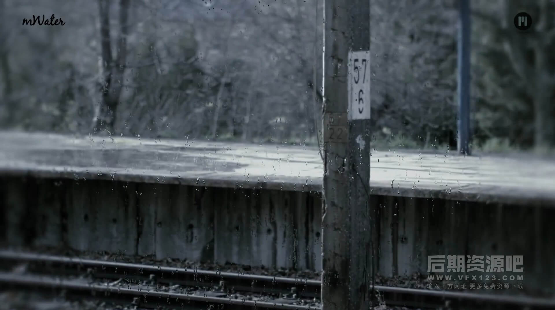 视频素材 2K高清下雨水珠视频特效合成素材 mWater