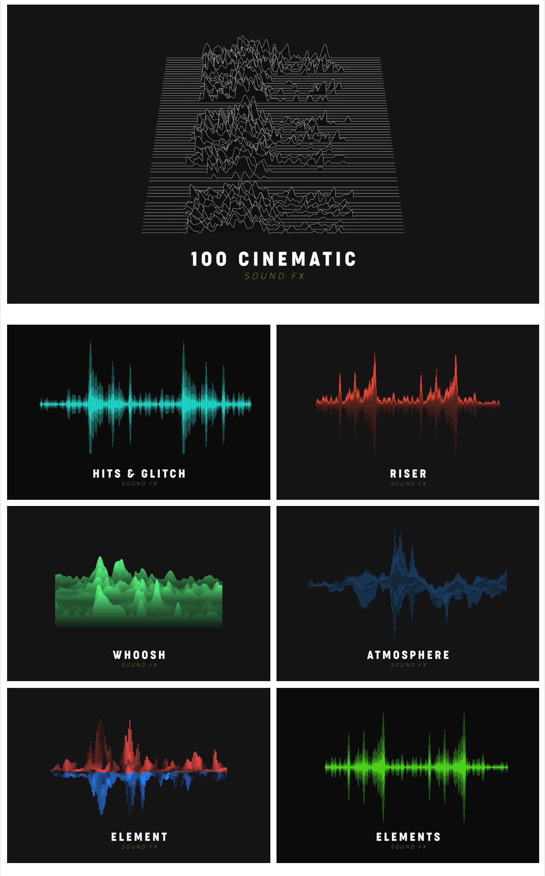 音频素材 127组大气环境气氛渲染电影转场无损音效 Cinematic sound FX