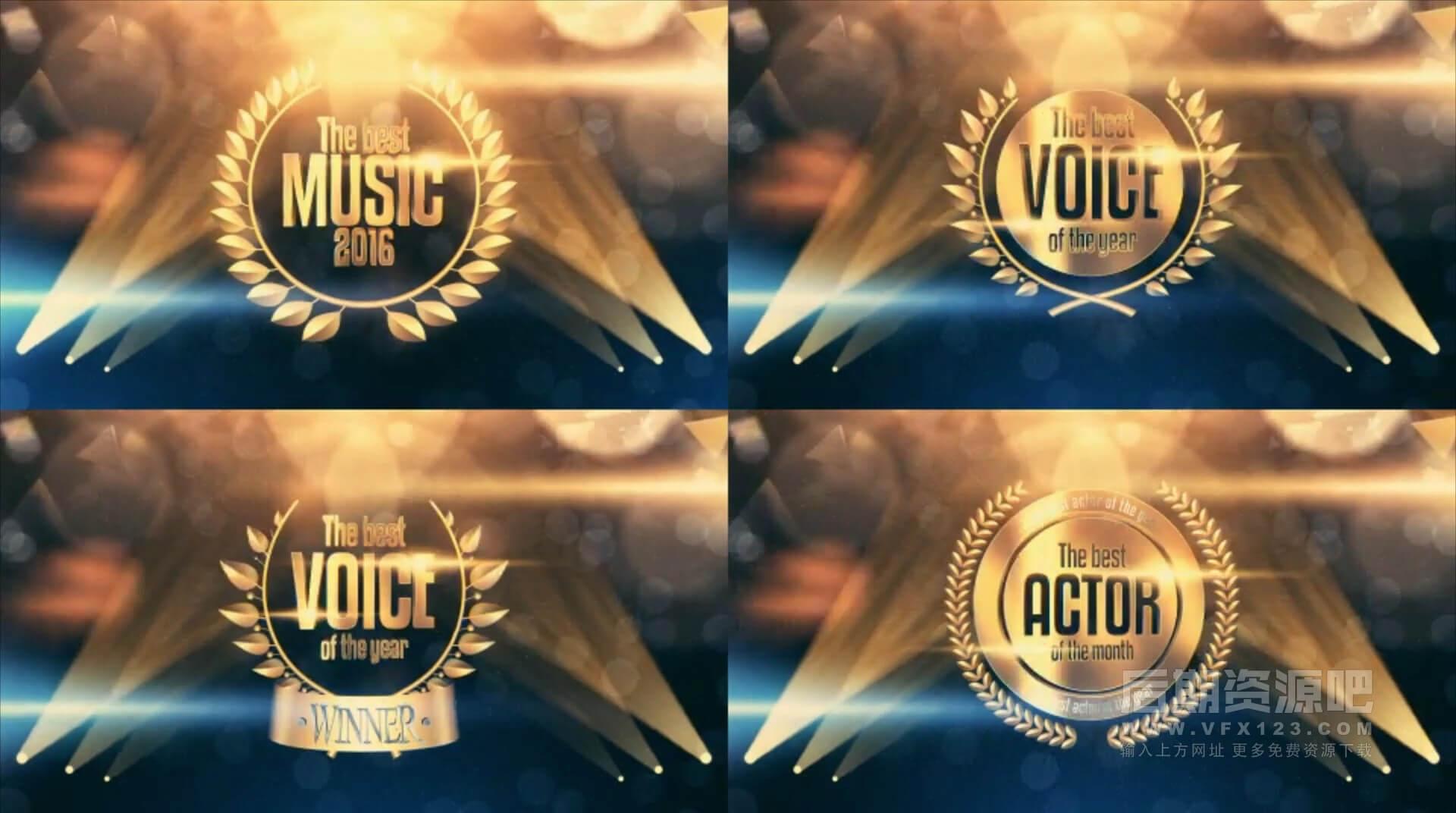 Ae模板 震撼大气黄金粒子颁奖典礼开幕式包装素材 Golden Award