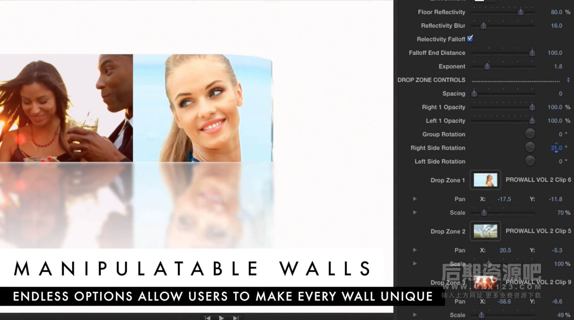 fcpx插件 动感多画面三维视频墙分屏特效 ProWall Volume 2 第二季