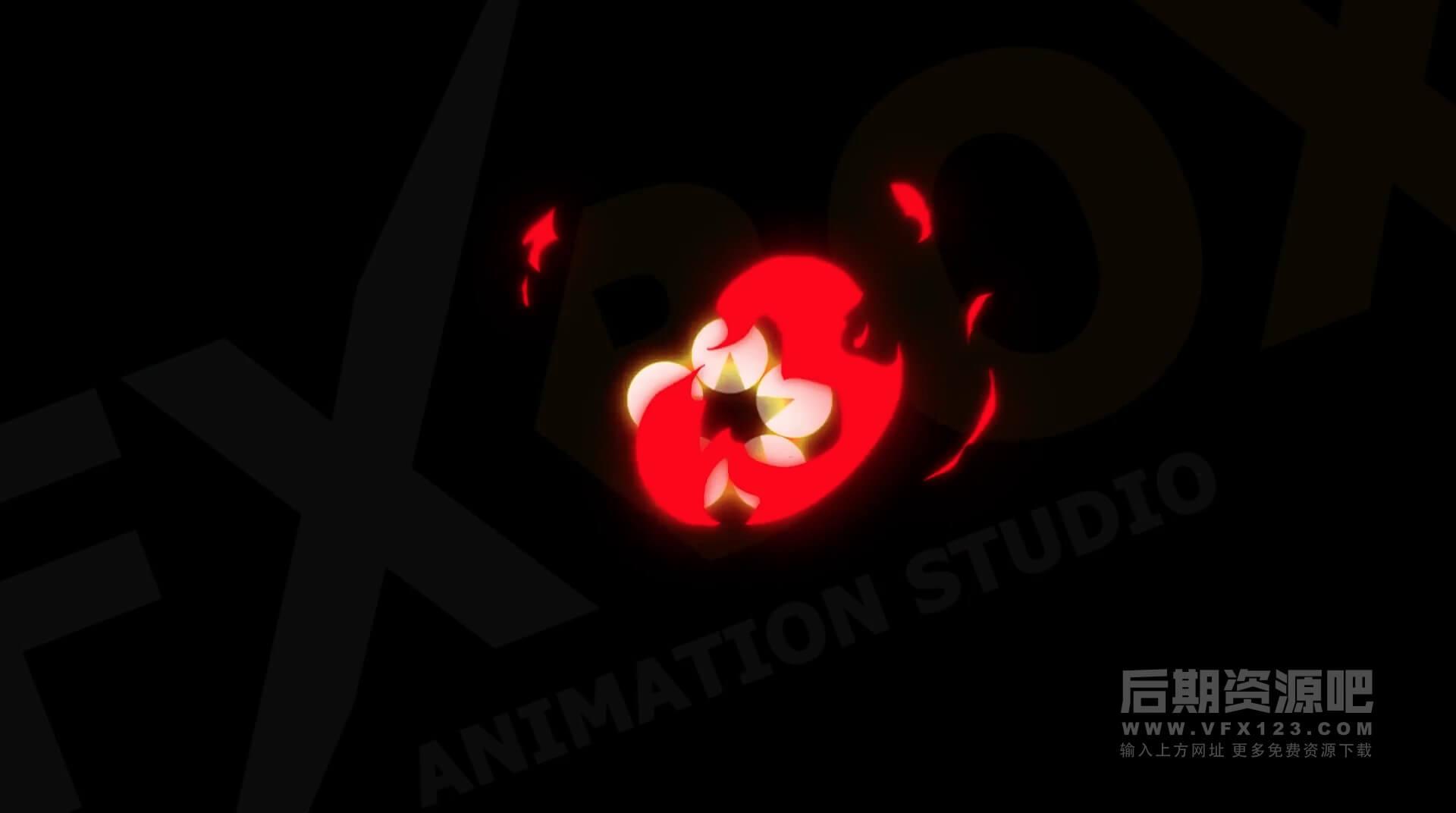 FCPX插件 10个常用火元素卡通手绘图形MG动画 Cartoon Fire Elements