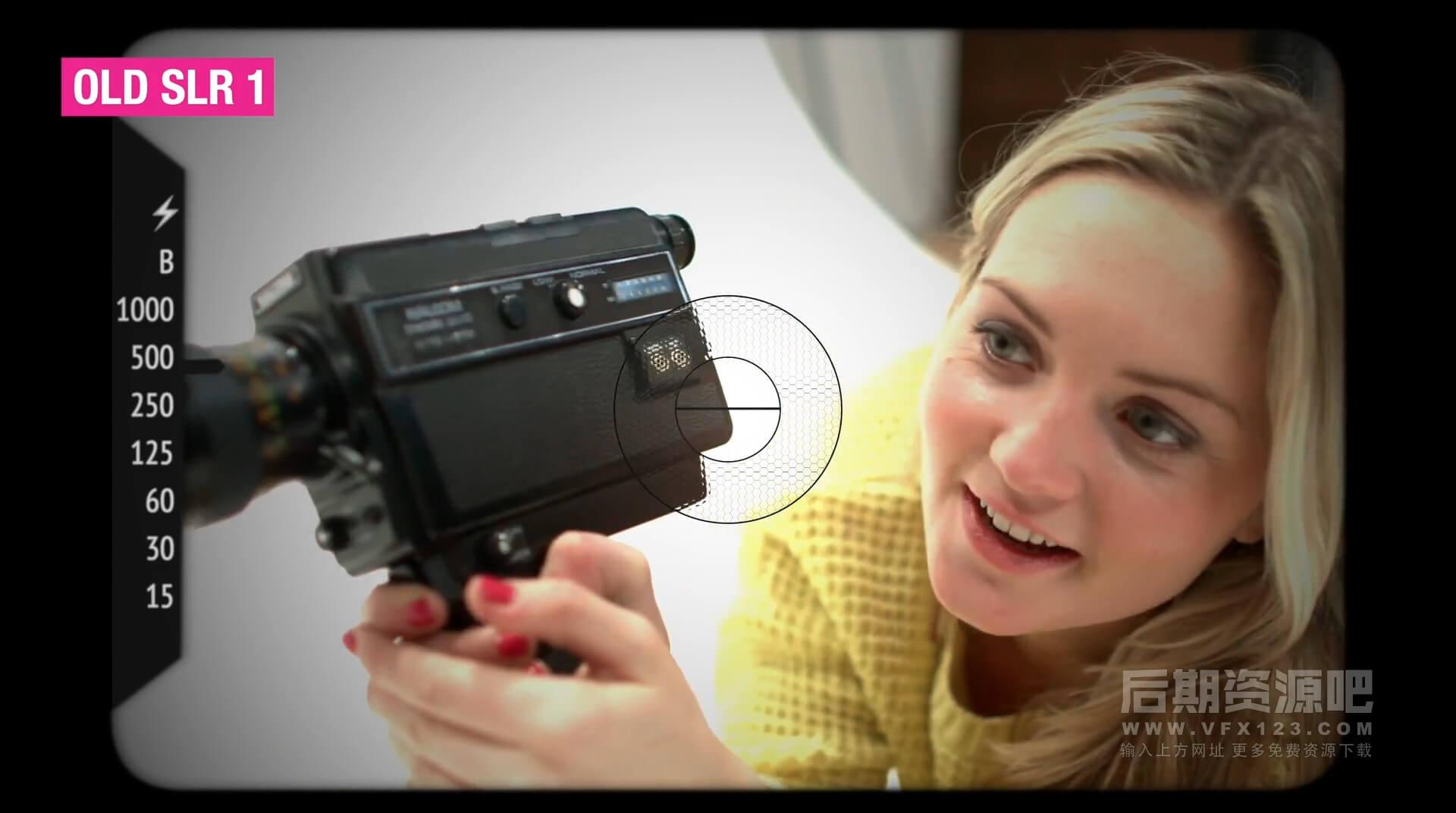 FCPX插件 30个相机取景框快门效果28个电影投影机转场 vlog常用素材