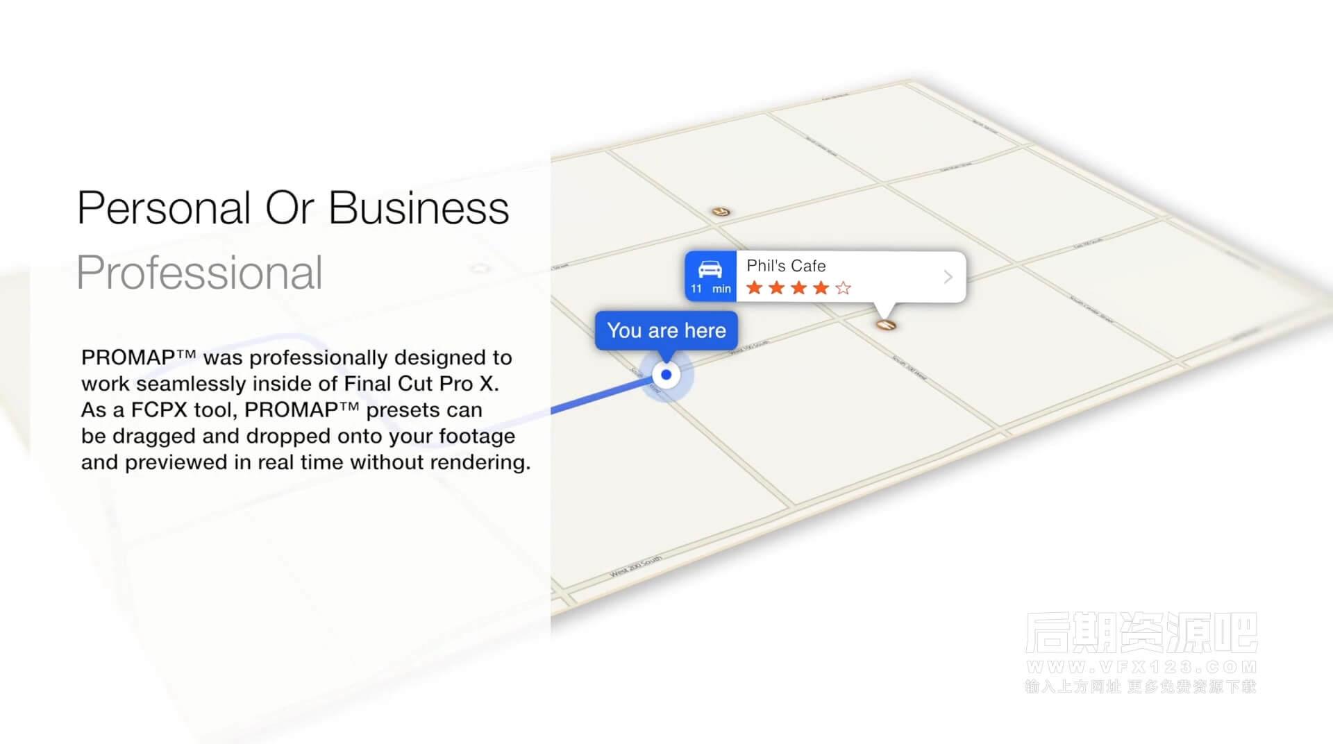 FCPX插件 地图导航线路运动轨迹位置坐标地点标注动画工具 ProMap+教程