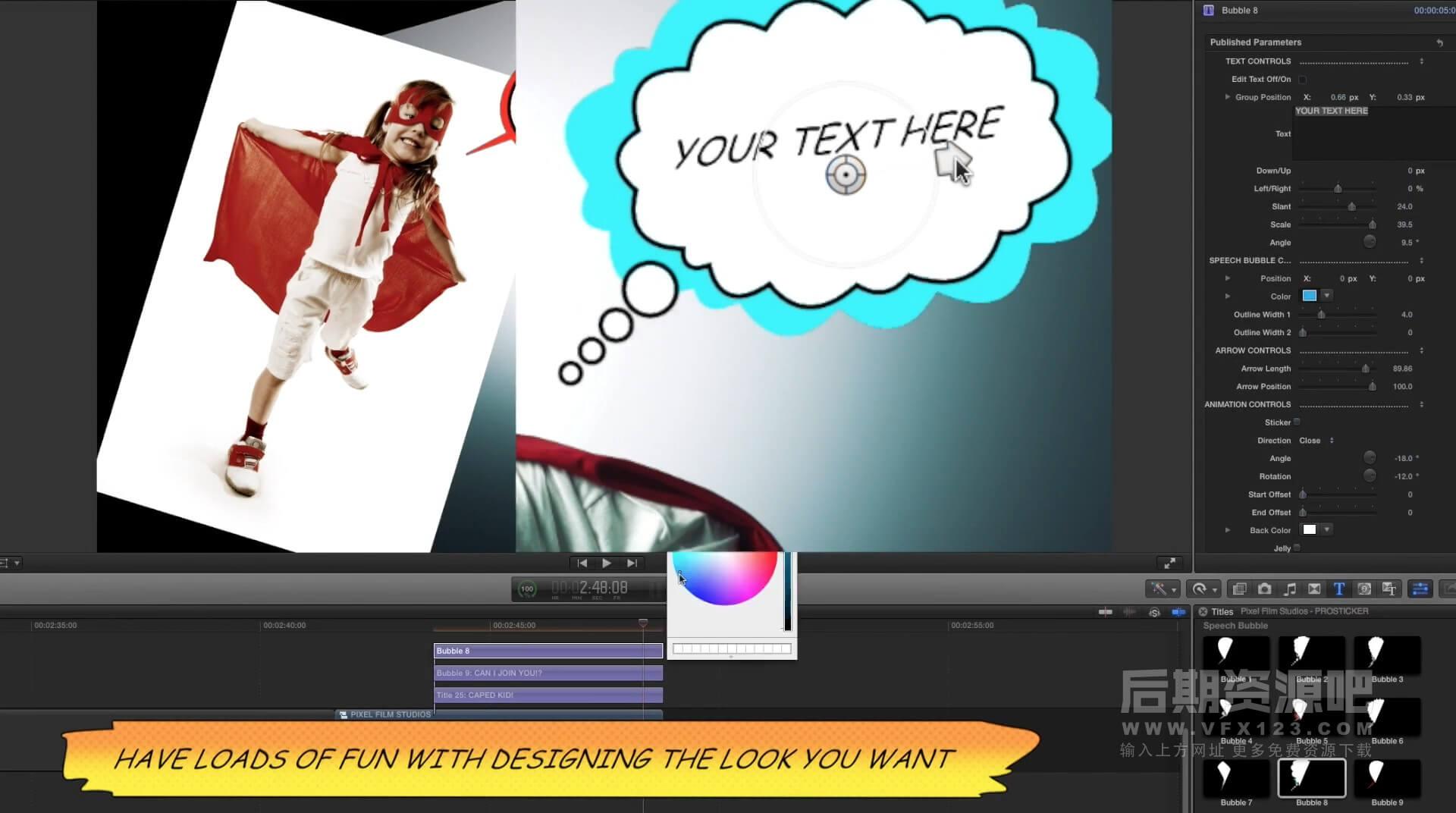 Fcpx插件 50+漫画书贴纸综艺对话气泡标签标题动画 适用综艺类节目 ProSticker