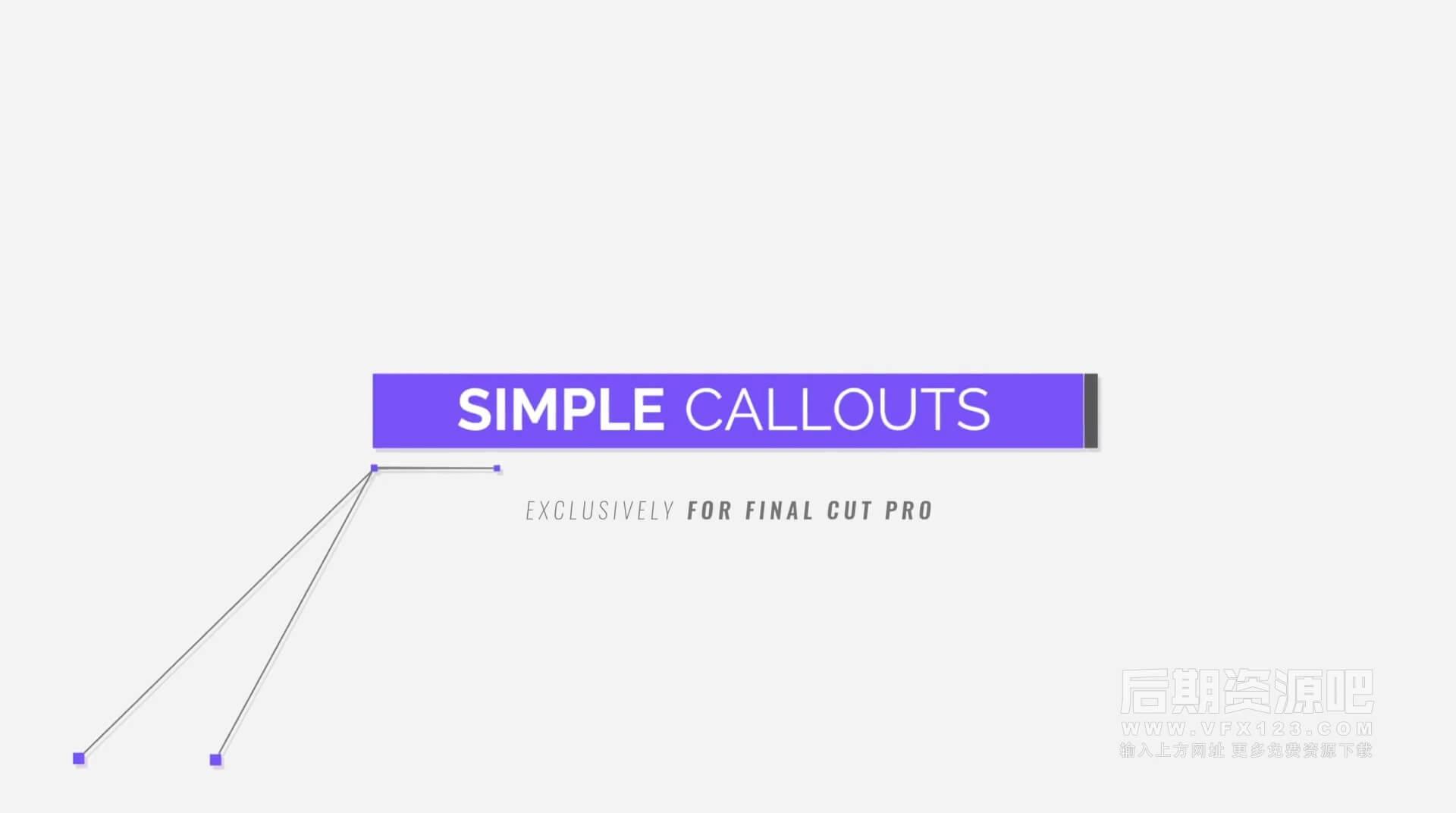 Fcpx插件 20个4K简洁多点标注注释解释线框线条呼出动画 Simple Callouts