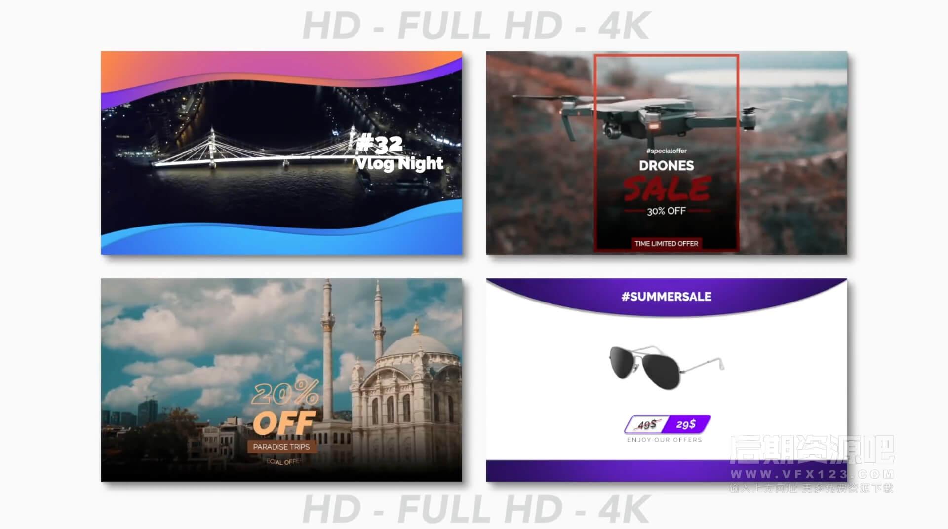 Fcpx插件 25个社交媒体图片视频展示模板 适用手机自媒体多分辨率