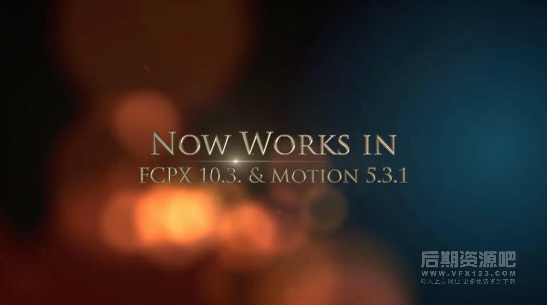 Fcpx插件 震撼大气颁奖典礼电影预告片金色粒子3D字幕片头模板 Cinematic Trailer Titles