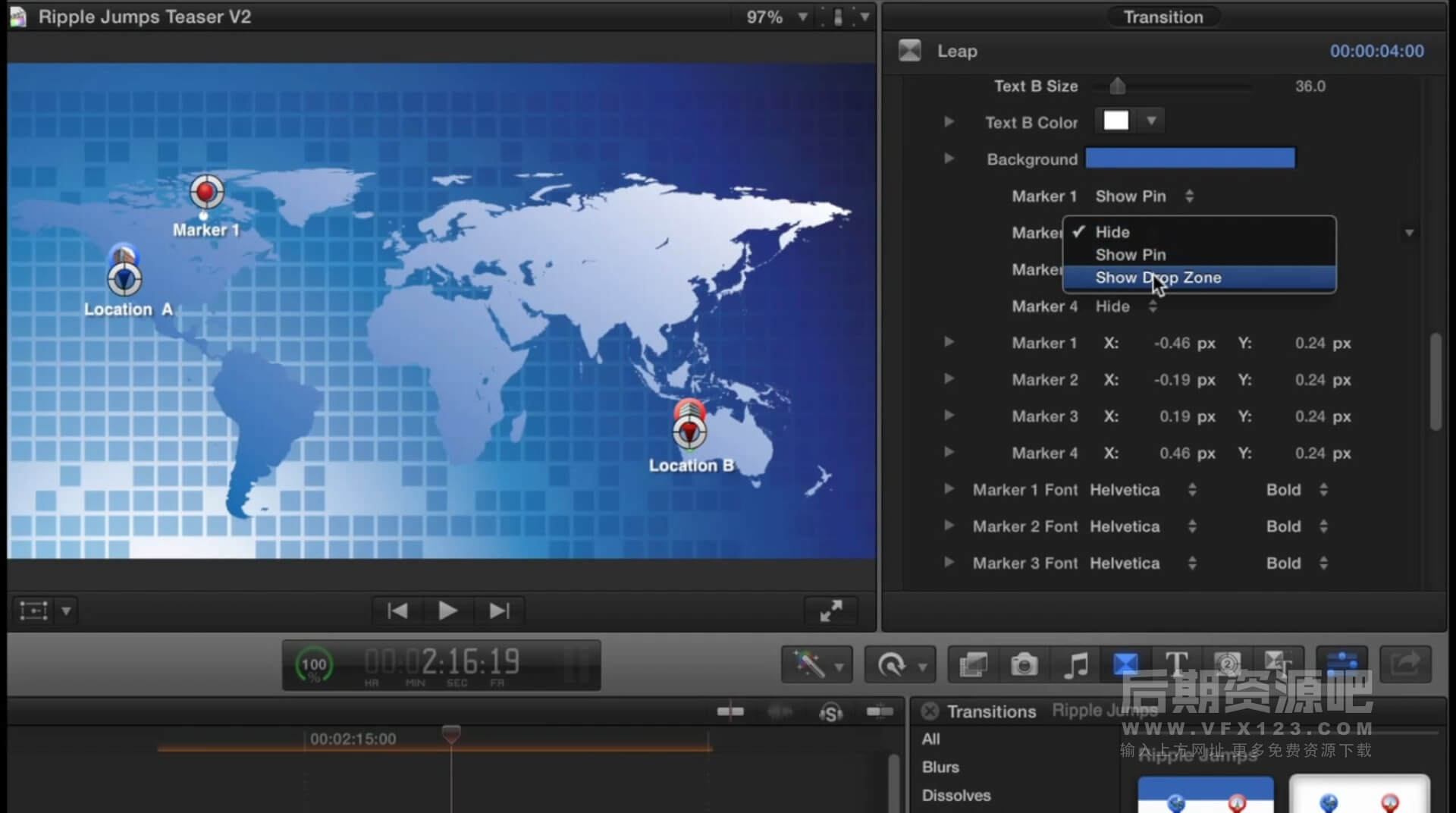 Fcpx转场插件 地图标记位置切换转场 旅拍Vlog常用转场效果 Ripple Jumps