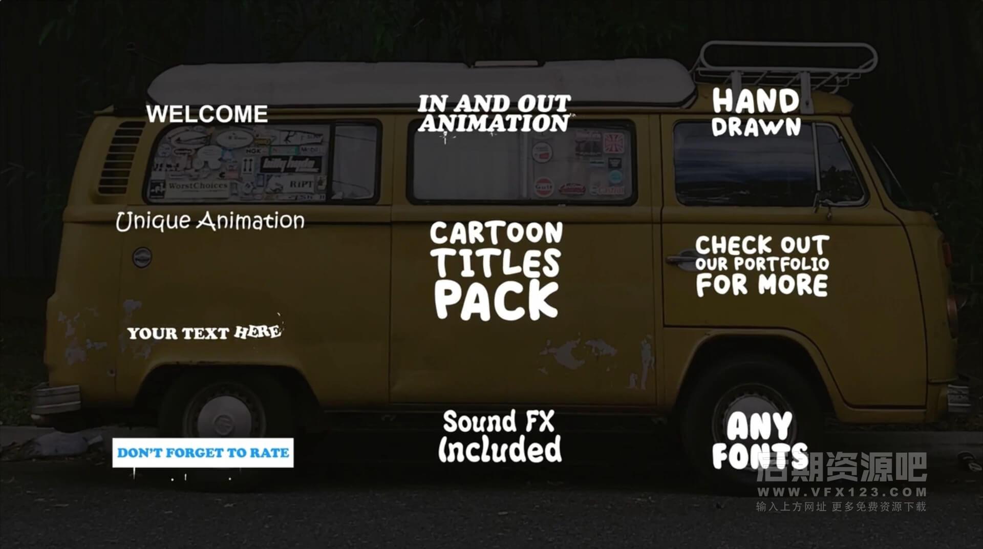 Fcpx卡通标题 手绘有趣漫画标题字幕+转场+音效+字体 Cartoon Titles Pack