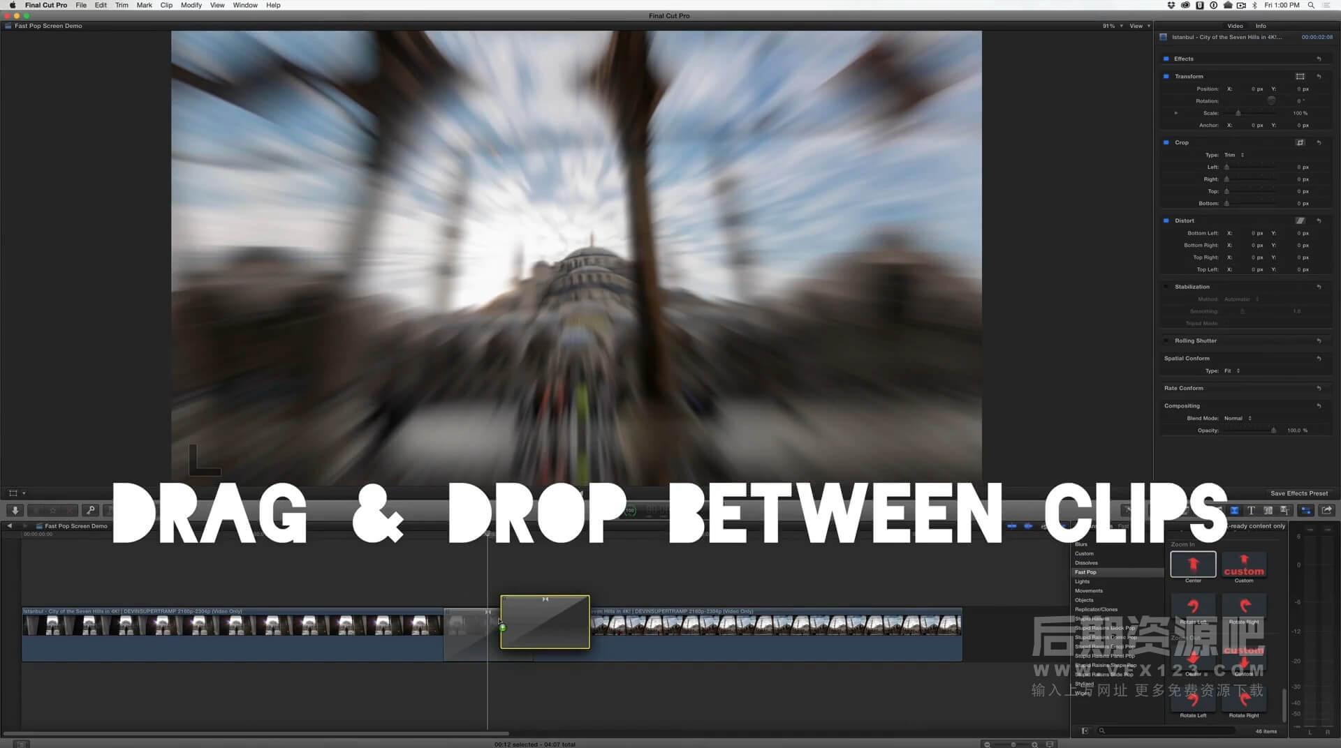 Fcpx转场插件 46组镜头推拉旋转运动预设 旅拍Vlog常用转场集合  Fast Pop