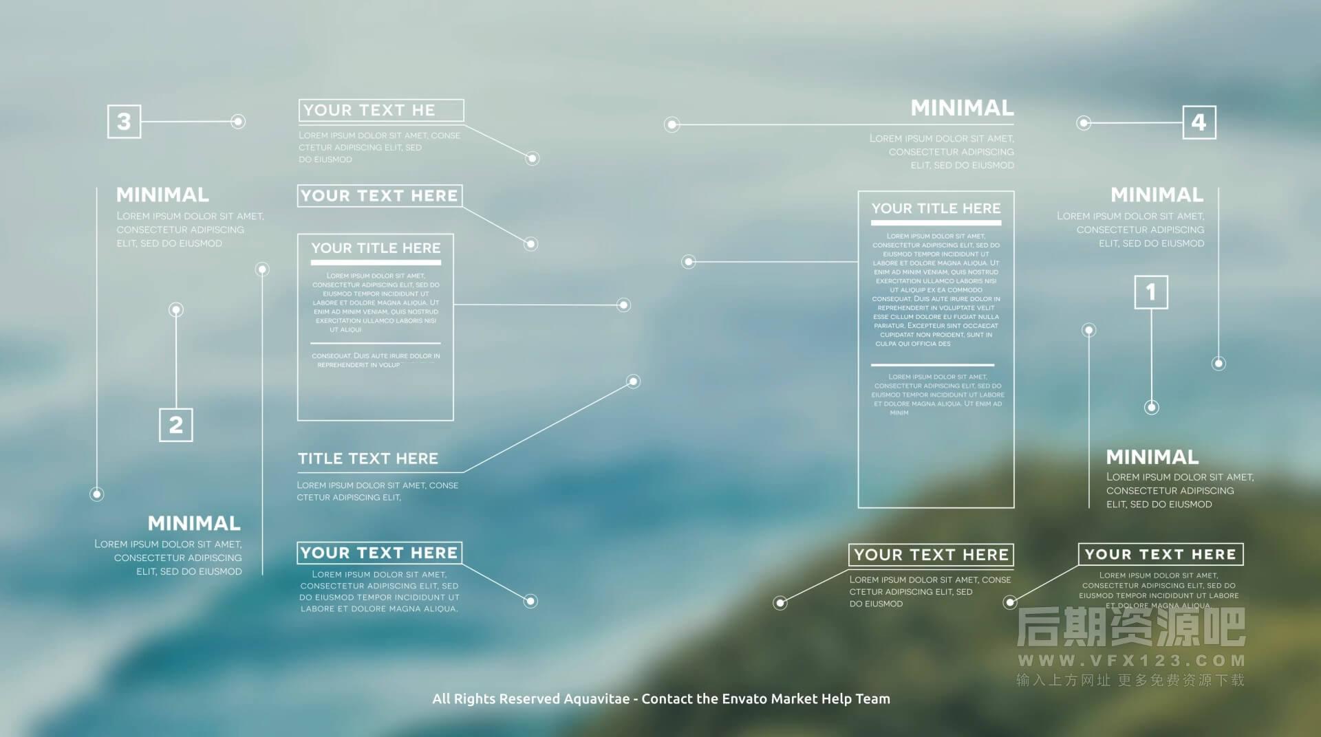 Fcpx插件 数据信息图表美化预设 饼图条形图地图尺寸线呼出线条等
