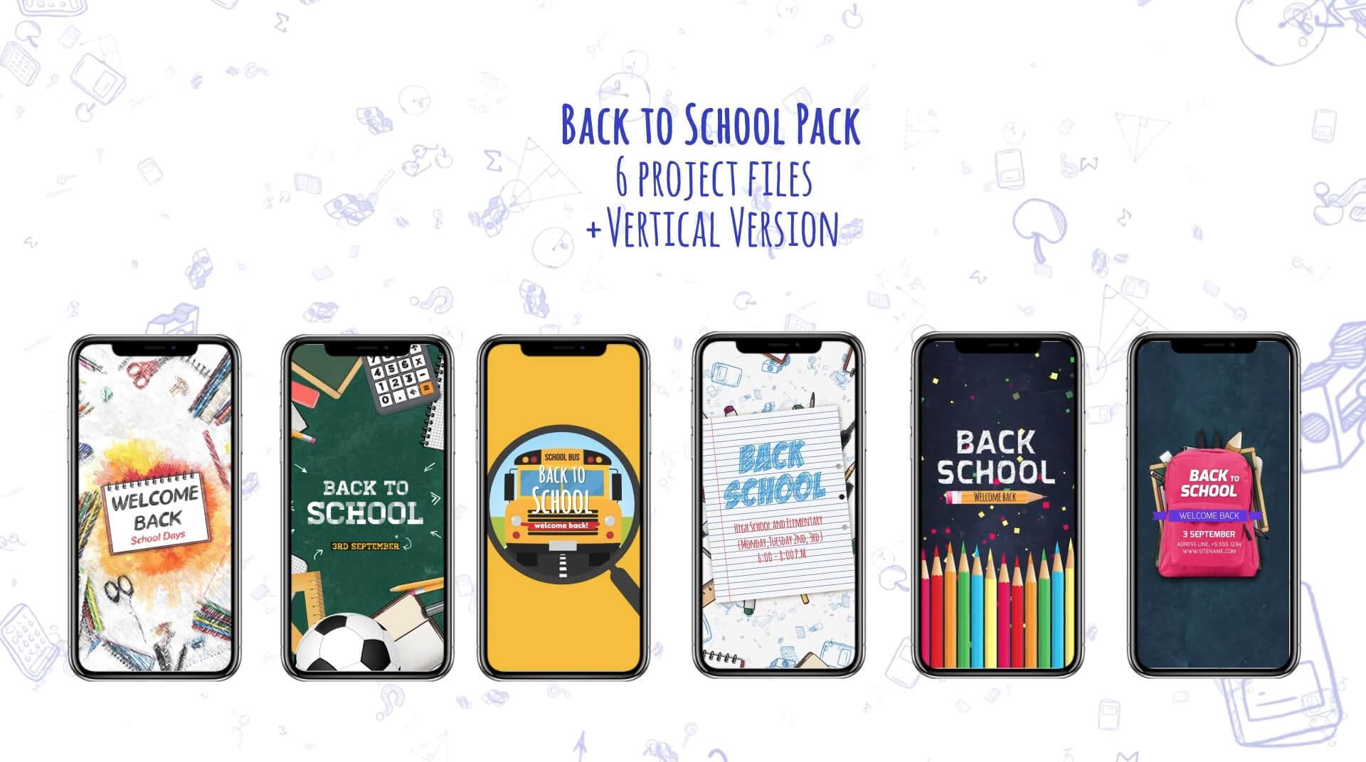 AE模板 返校开学季校园栏目包装片头 包含竖屏短视频模板