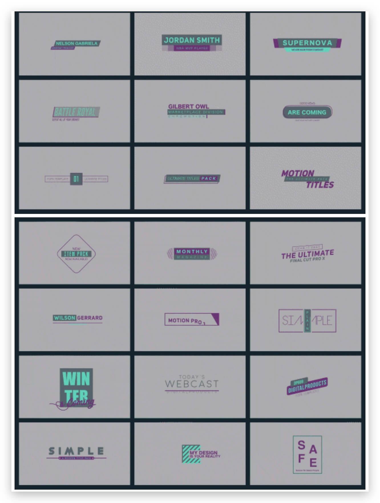 Fcpx标题插件 222组时尚LOGO展示字幕条标签婚礼人名排版复古卡通集合