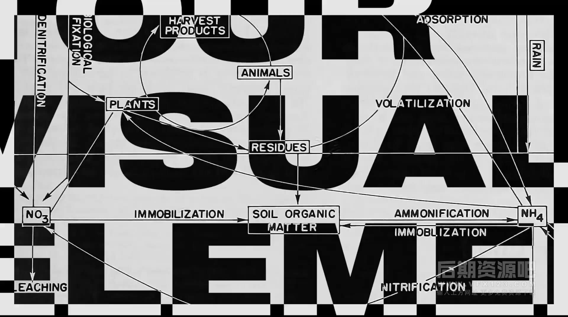 视频素材 69组4K复古黑白图形HUD元素无缝循环 Tour Visual Elements