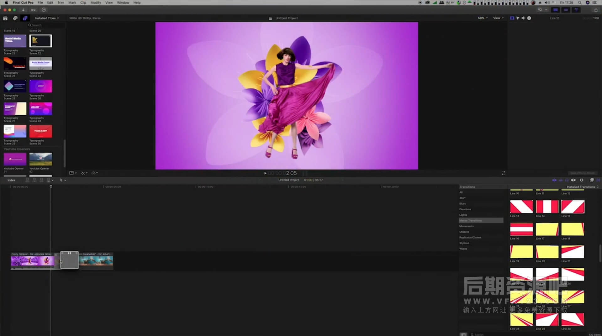 Fcpx插件 190组社交自媒体封面字幕+图形转场 Motion Graphics Pack