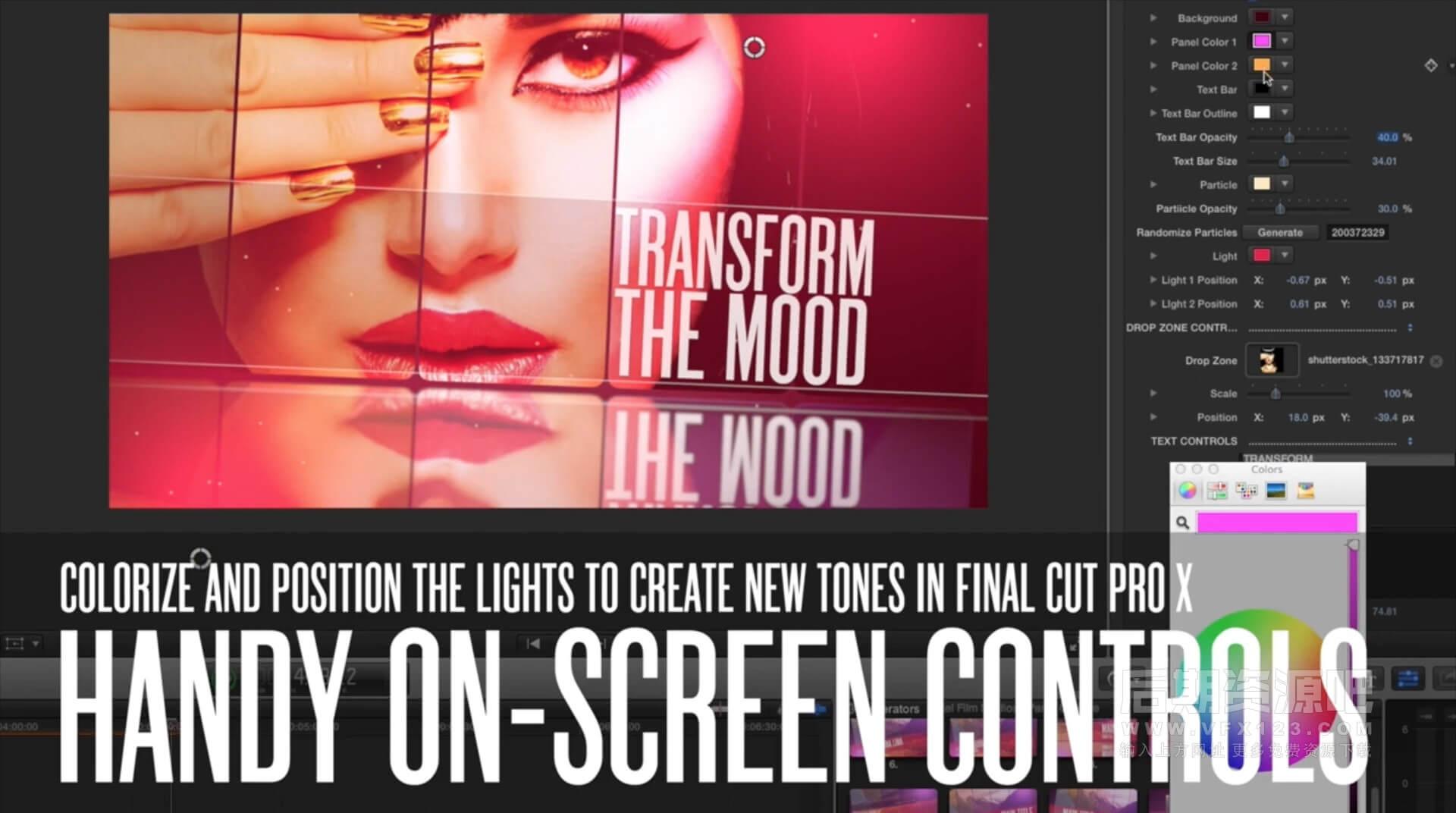 FCPX主题插件 时尚屏幕拼贴分割图片视频模板 Panel Couture