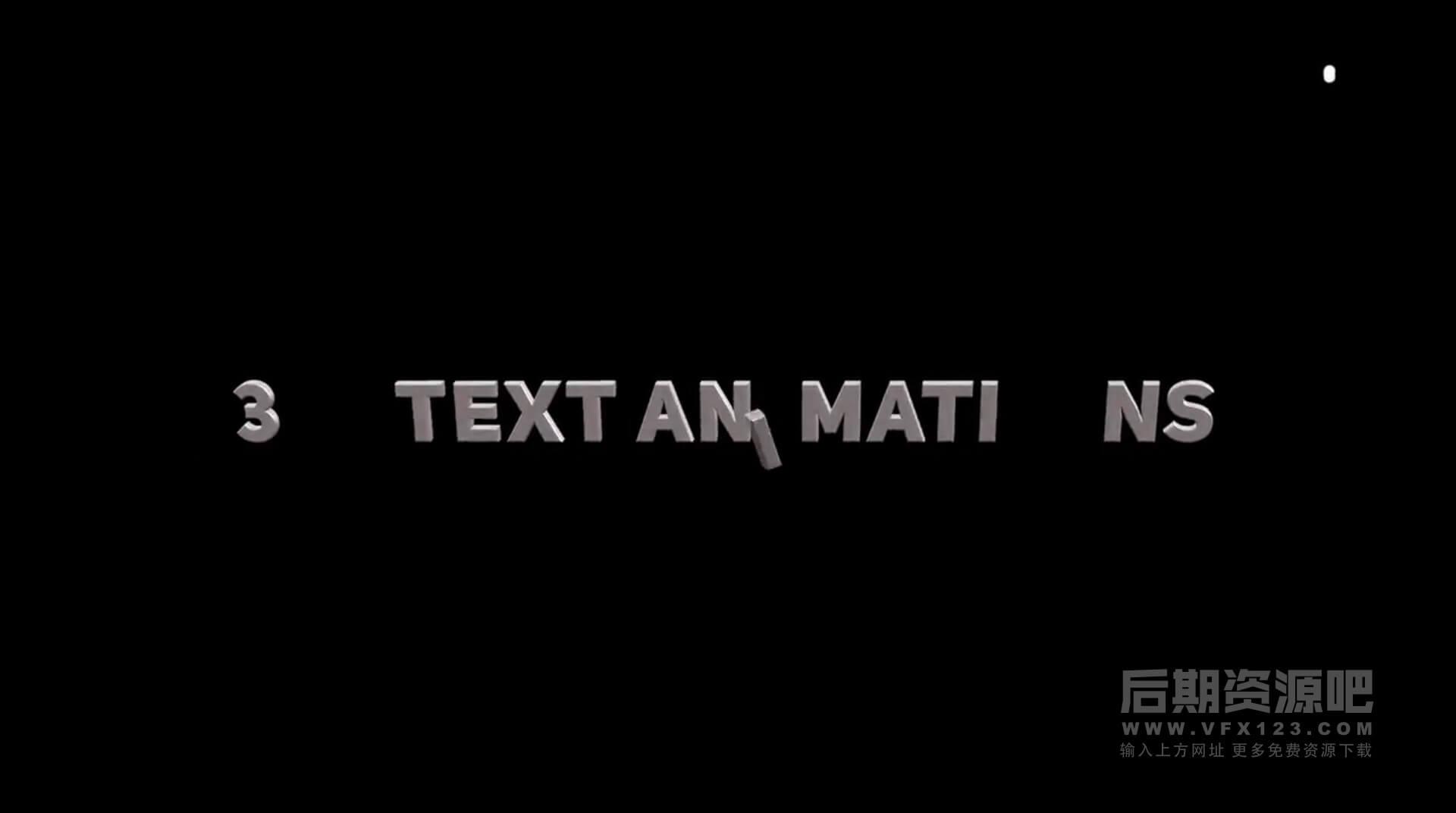 FCPX标题插件 16组3D立体效果弹跳飞出翻转字幕模板 3D Text Animations