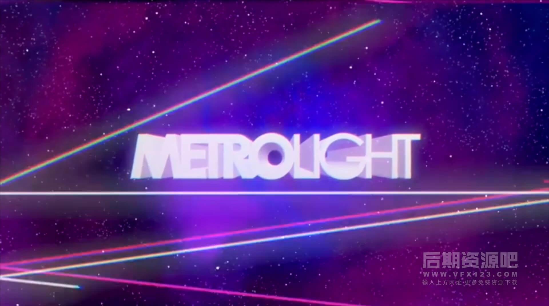 Motion模板 80年代复古老效果动画片头 Metrolight