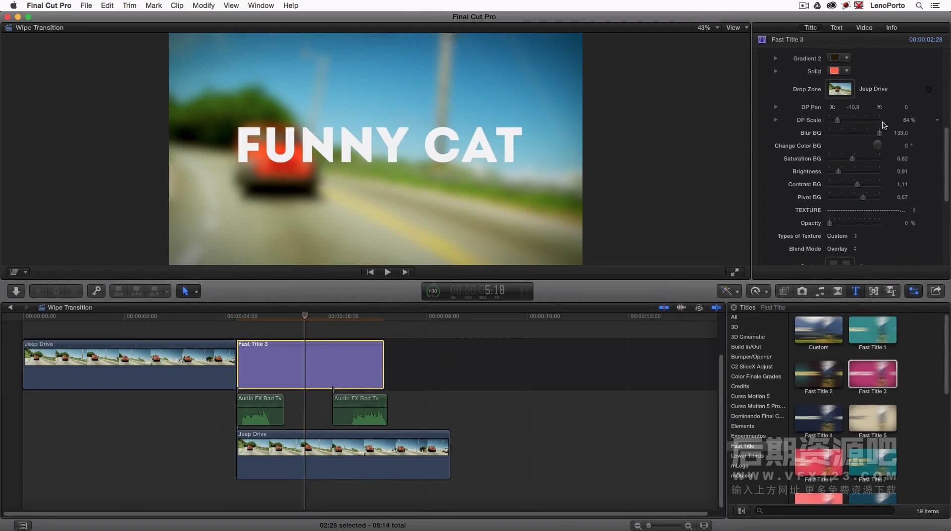 FCPX标题插件 19组快闪推拉切入效果 Vlog常用标题模板  Fast Title