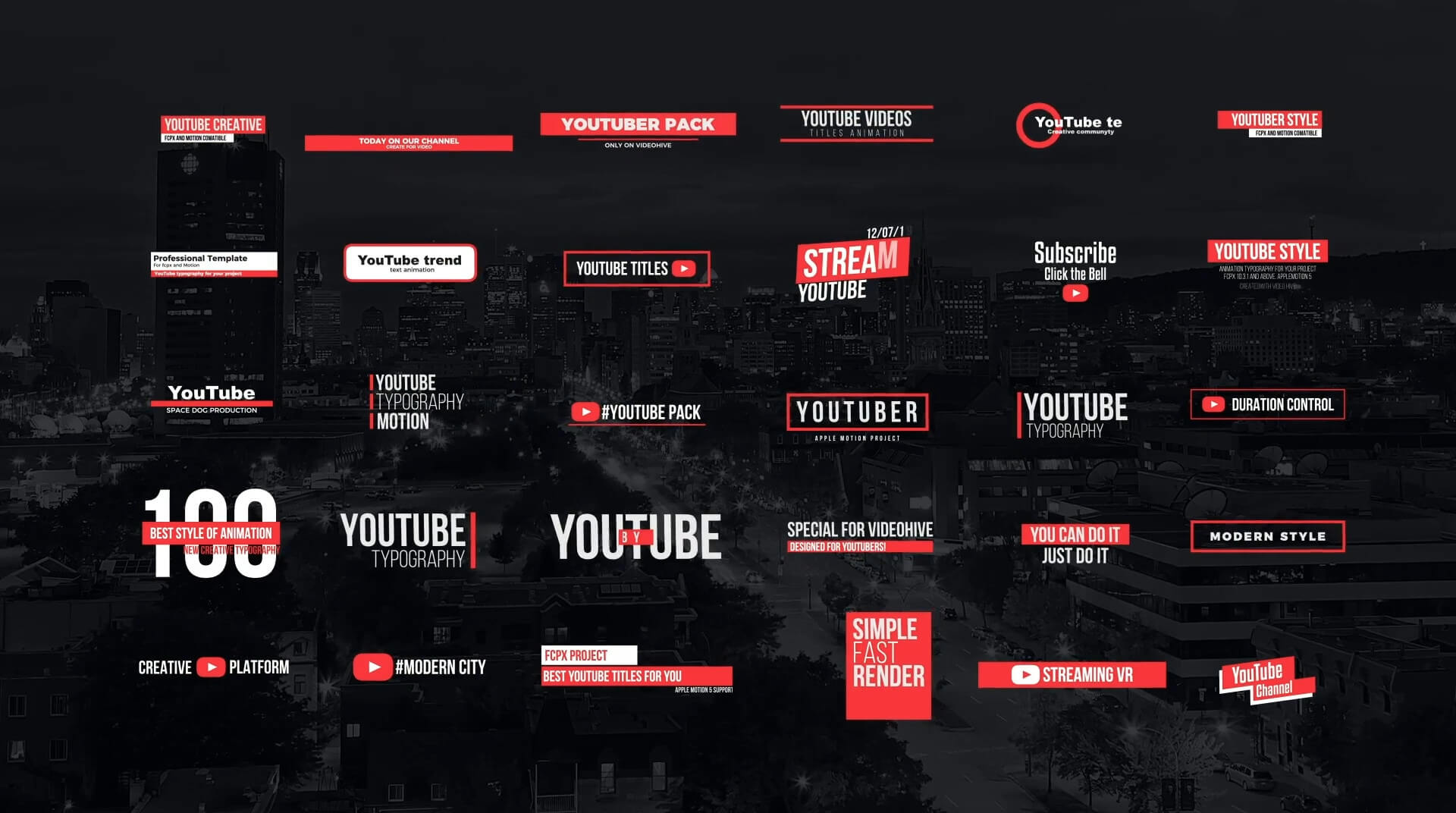 FCPX标题插件 30个简约自媒体标题模板 YouTube Motion Titles