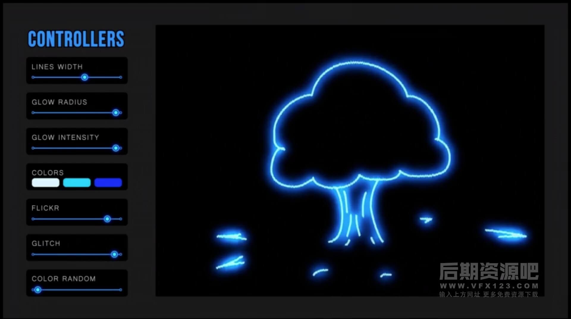AE模板 300个霓虹发光涂鸦动画元素 附AE脚本安装 Neon FX Pack