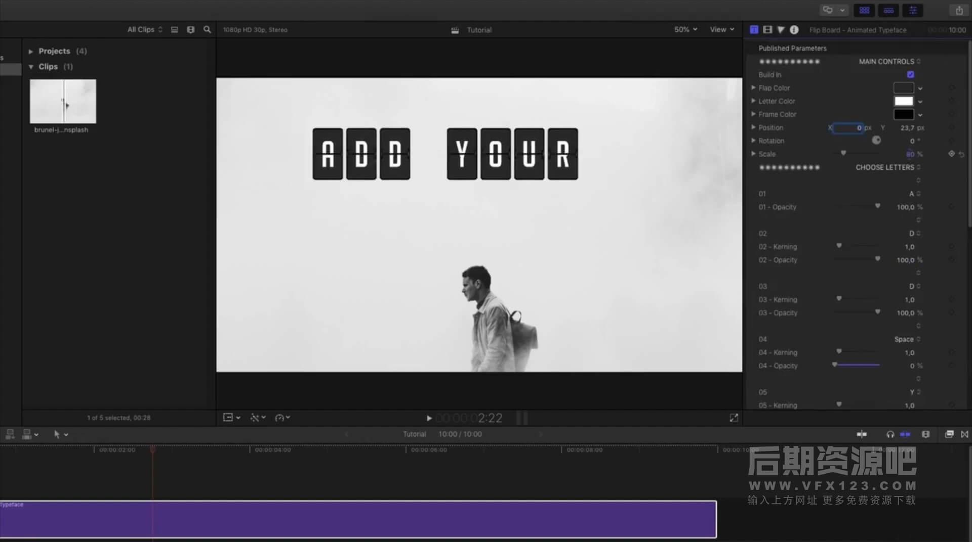 FCPX标题插件 15组字母文字翻页效果 Flip Board Animated