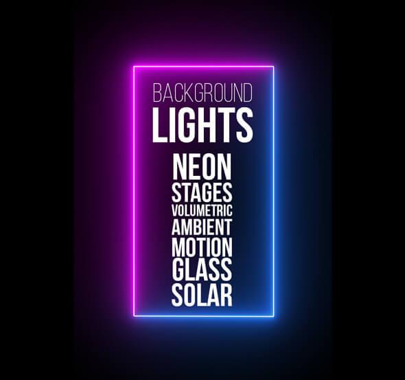 AE模板 128个霓虹灯体积光线舞台地球背景光集合 Background Lights