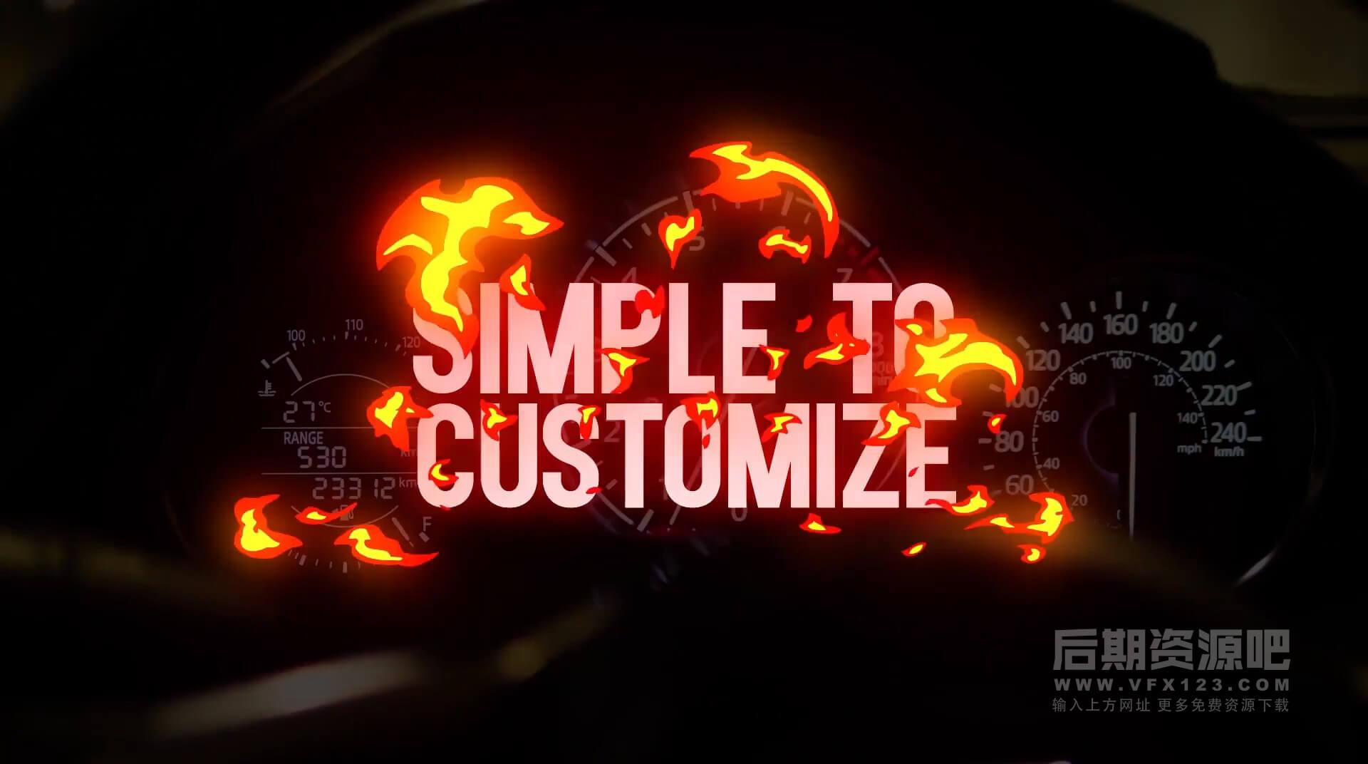 FCPX插件 2D卡通手绘火焰标题片头制作模板 带音效转场 Extreme Titles