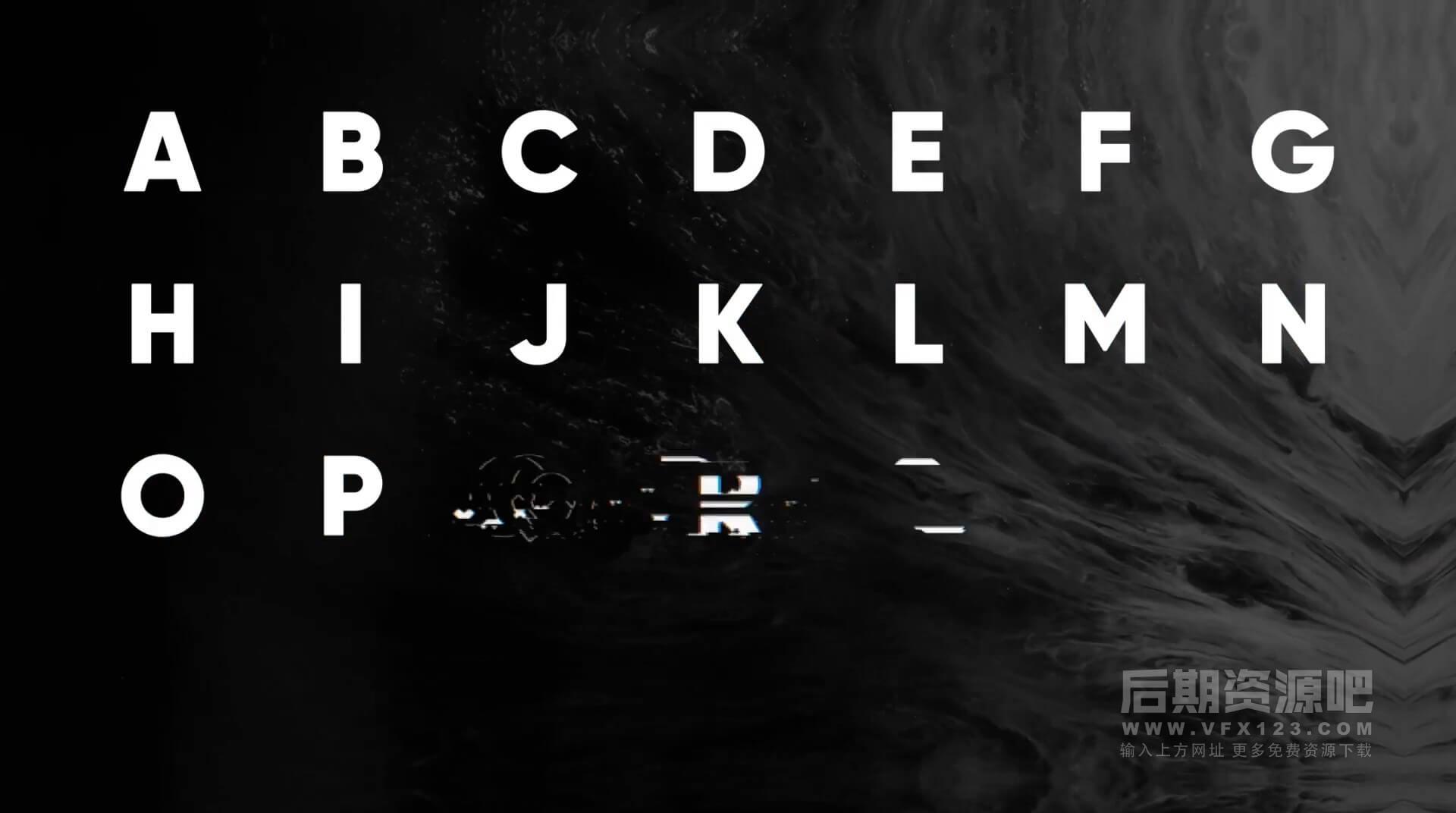 FCPX插件 数字信息化故障干扰像素损坏风格英文标题模板 Glitch Animated Typeface