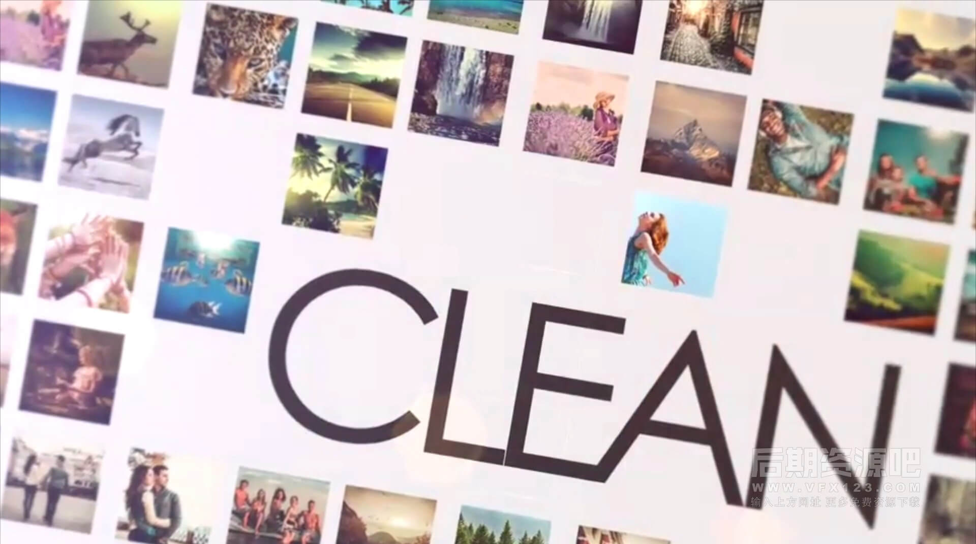 Motion片头片尾模板 照片墙多图背景幻灯片开场 Clean Big Slideshow