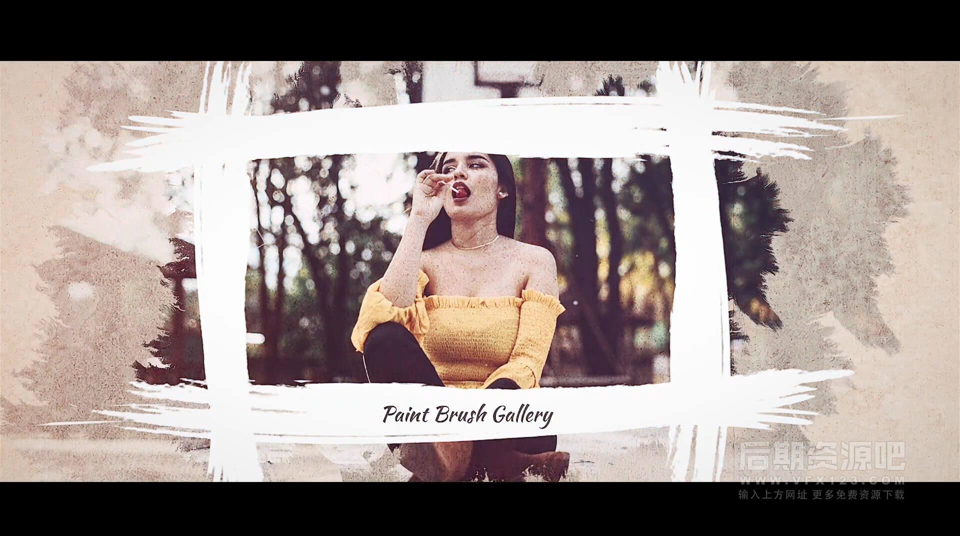 FCPX主题插件 浪漫唯美复古手绘笔刷图片视频展示模板 Brush Paint Gallery