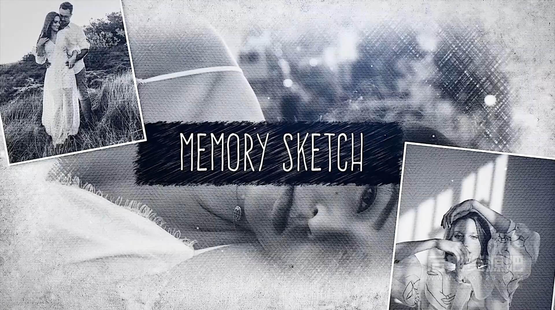 FCPX主题模板 素描手绘风格回忆相册纪念册展示 Memory Sketch