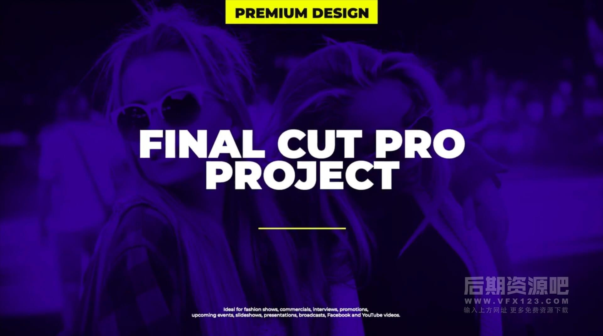 Fcpx插件 12组流行大标题封面侧边栏排版动画 Modern Typo Scenes