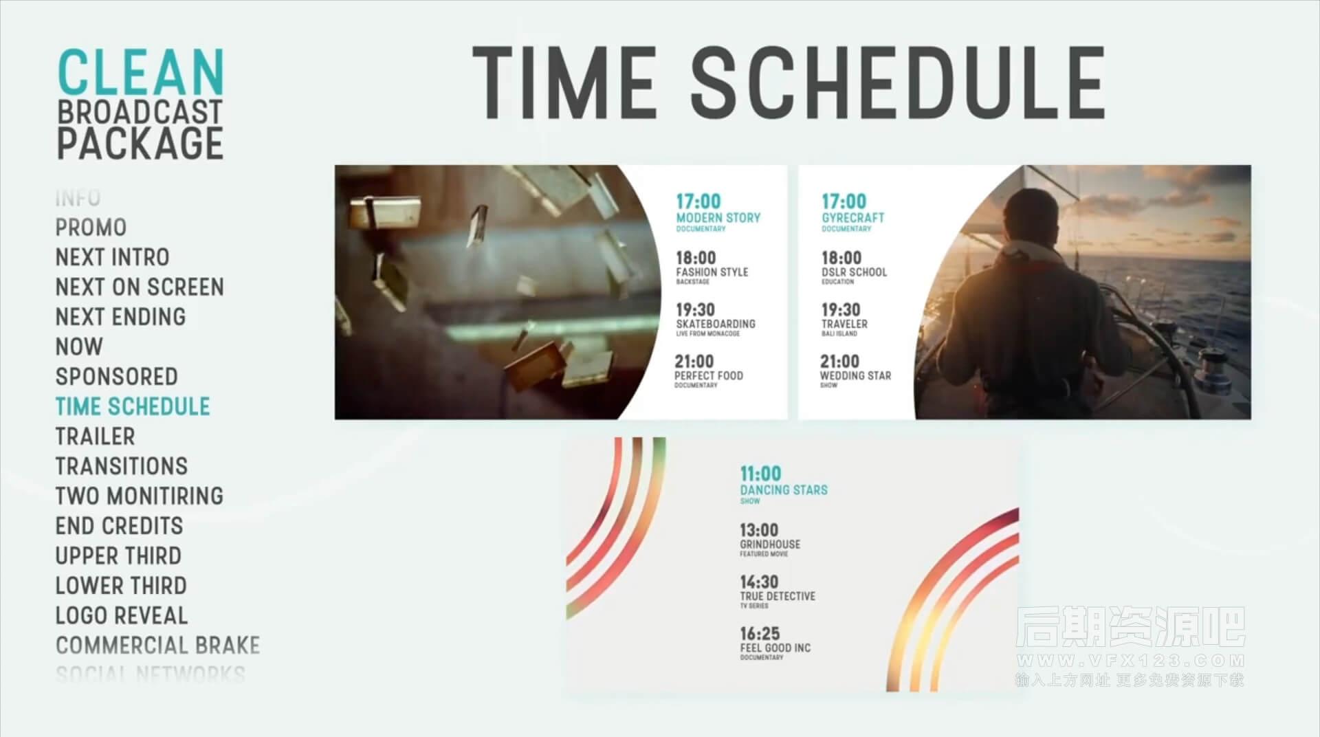 FCPX插件 42种简洁时尚商务电视广告社交网络栏目包装动画 Clean Broadcast