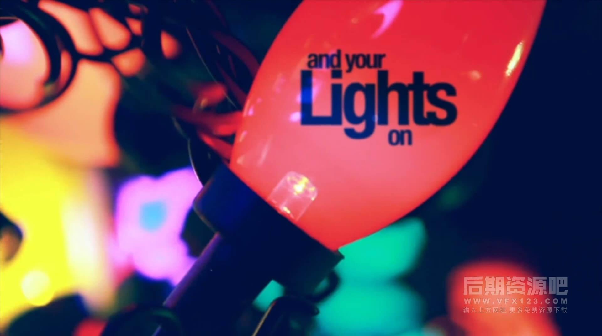 Motion模板 霓虹灯假日聚会节日开场 Holidays Lights
