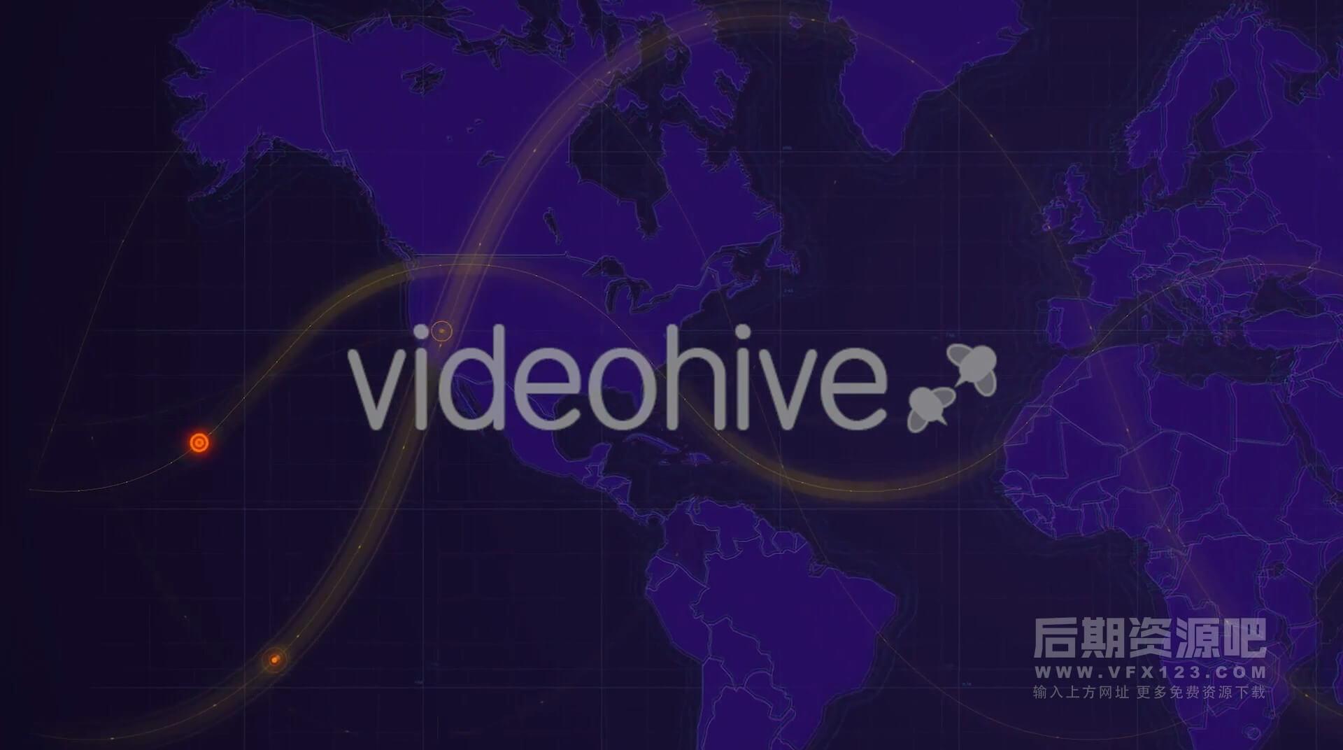 视频素材 4K世界地图全球热点正在发生遍布全球HUD信息会议背景