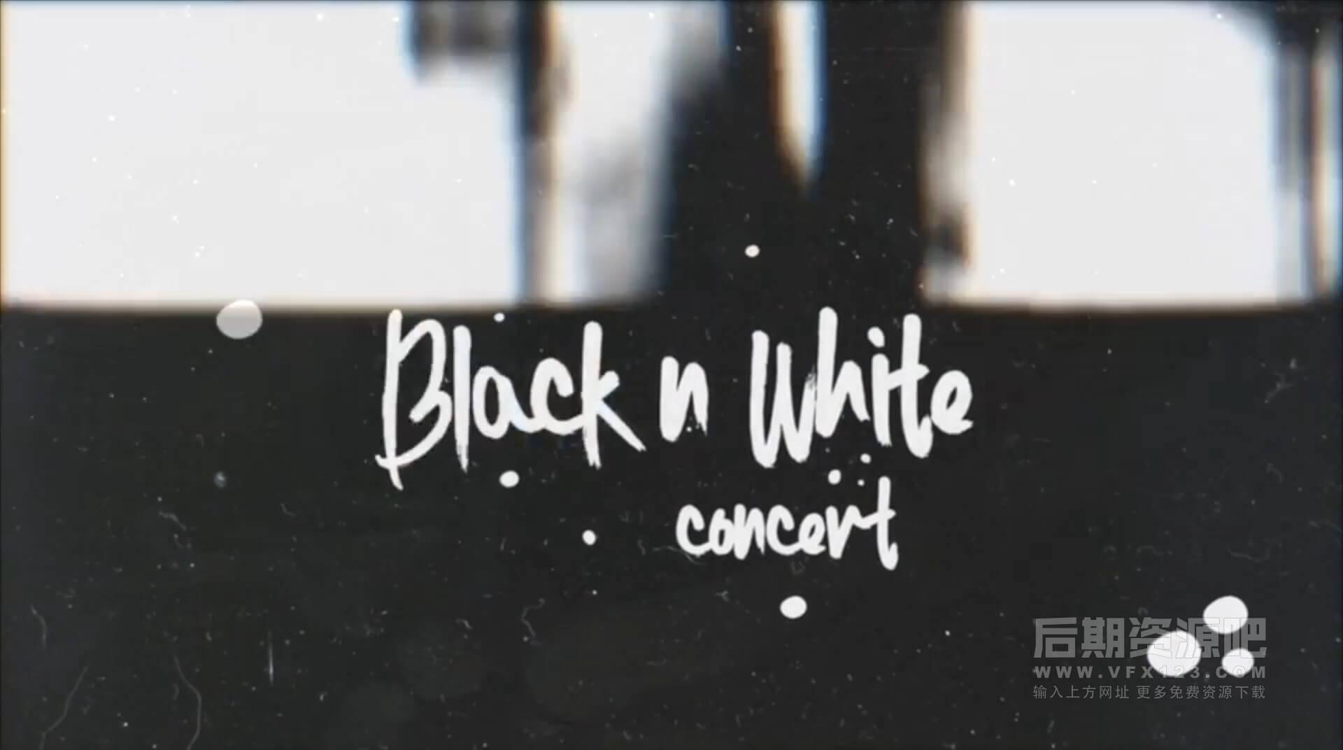 Motion模板 黑白风格DJ摇滚音乐会开场片头 BnW Concert