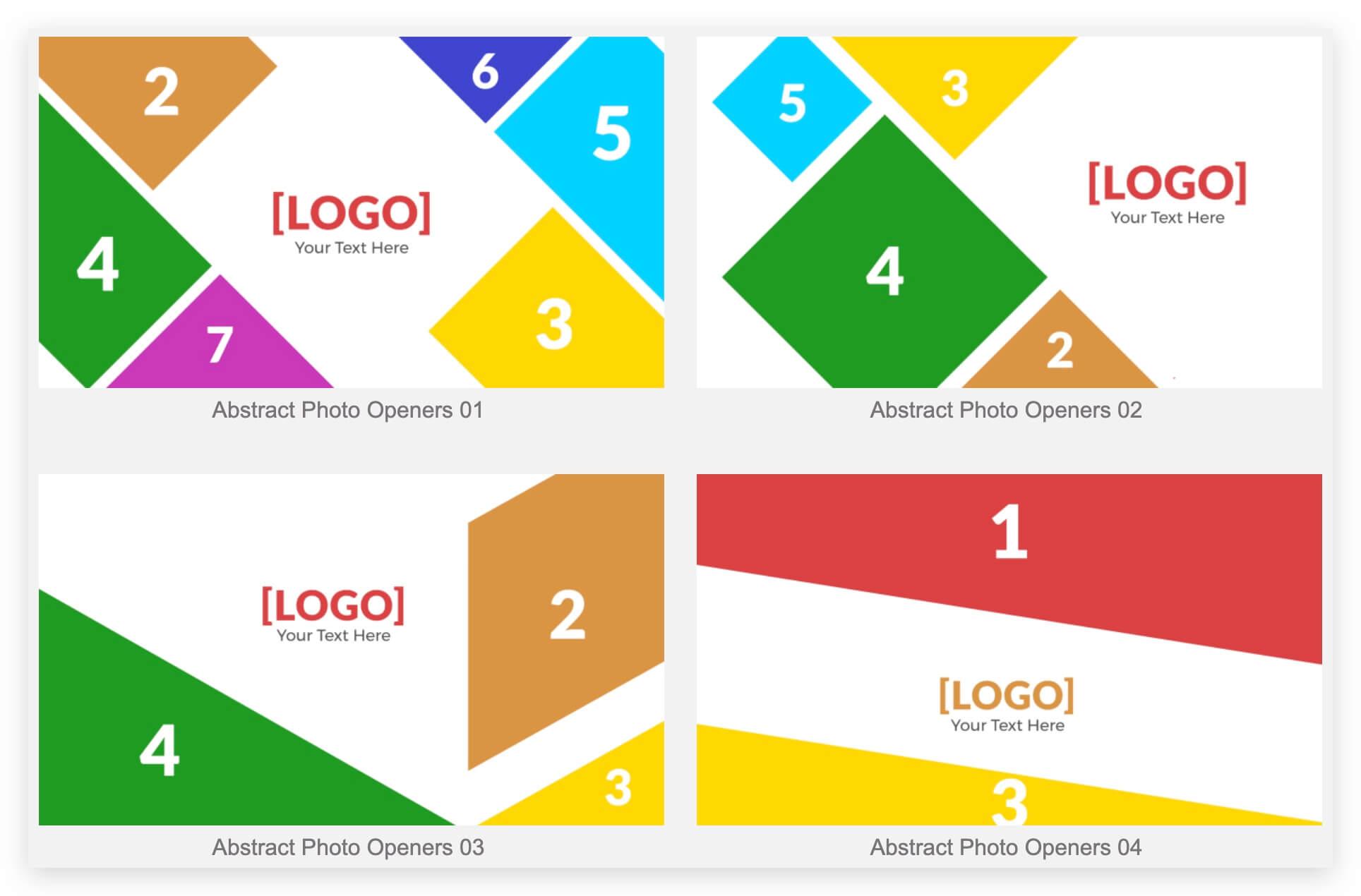 Fcpx插件 10组多图拼接徽标LOGO展示模板 分屏样式 Abstract Photo Openers