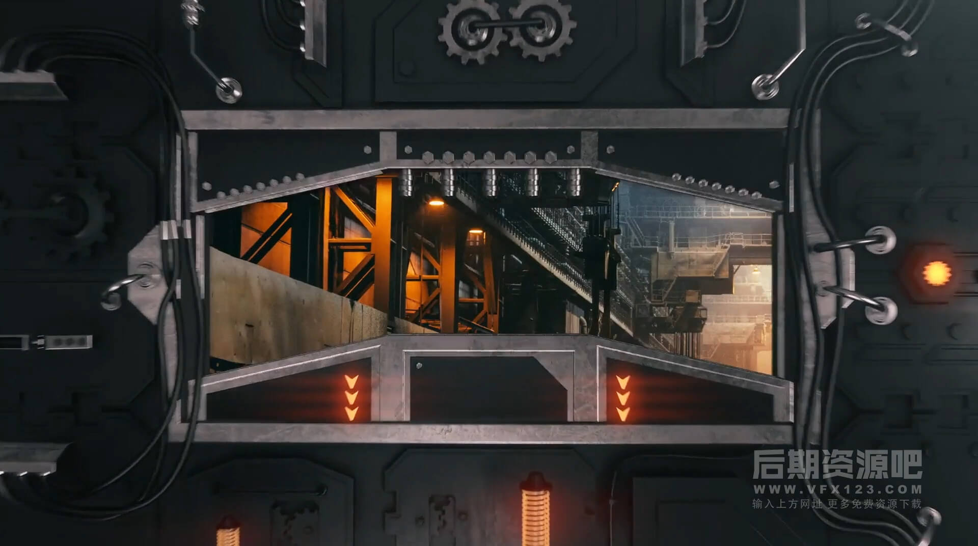 Fcpx插件 钢铁金属齿轮熔炉工业风格徽标LOGO展示模板 带转场