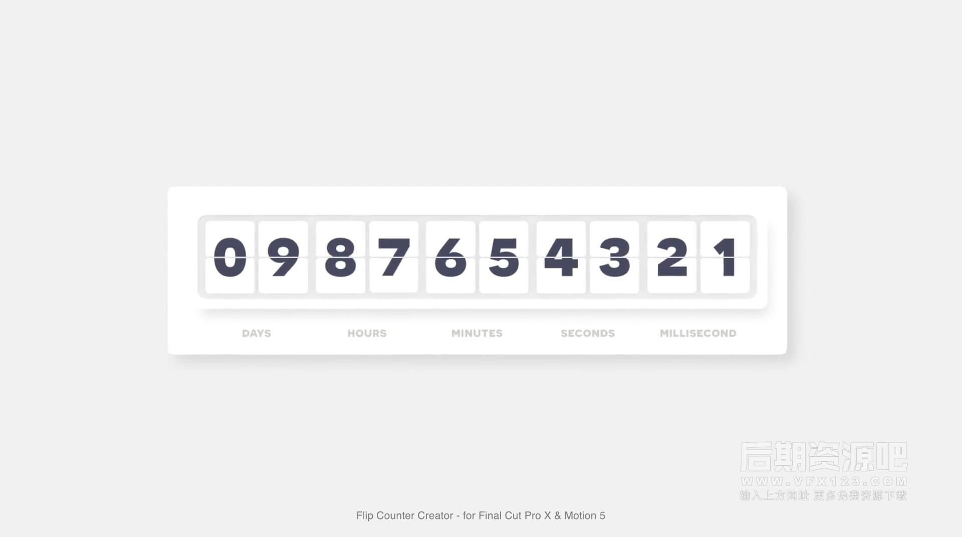Fcpx插件 数字滚动翻页计数器倒计时统计效果工具 Flip Counter Creator