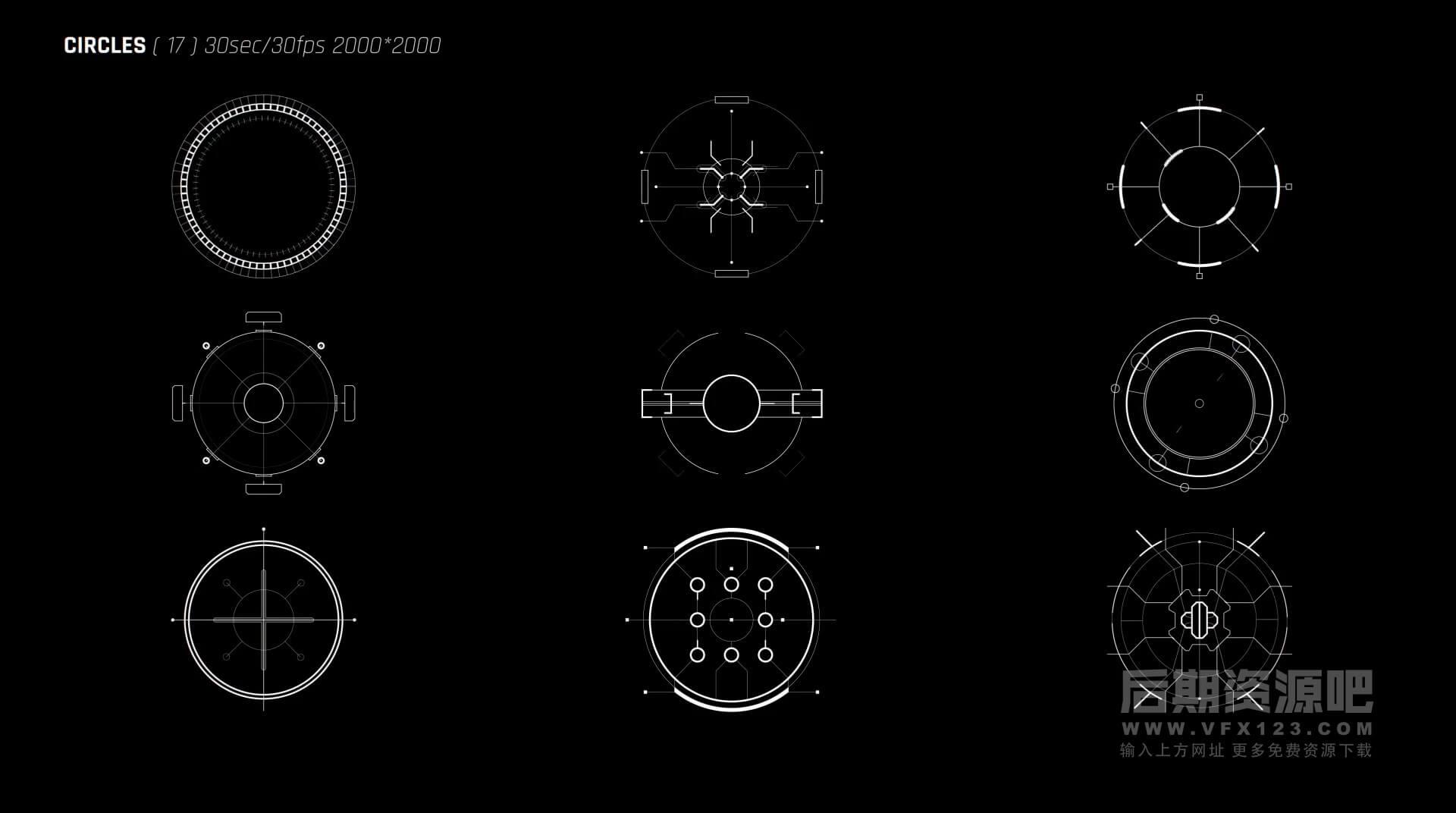 视频素材 103个HUD全息数据科幻元素 圆圈线条标记标注文本占位界面UI等