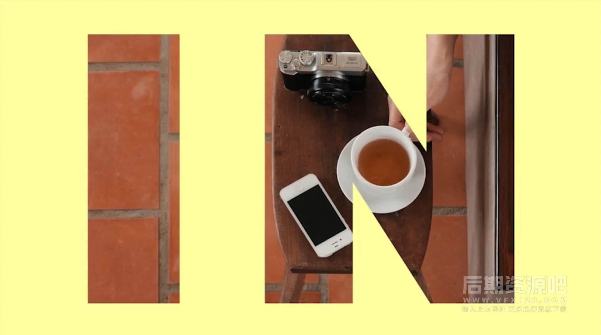 Fcpx主题模板 多彩活力流行镂空文字大标题旅拍模板 Happy Slideshow