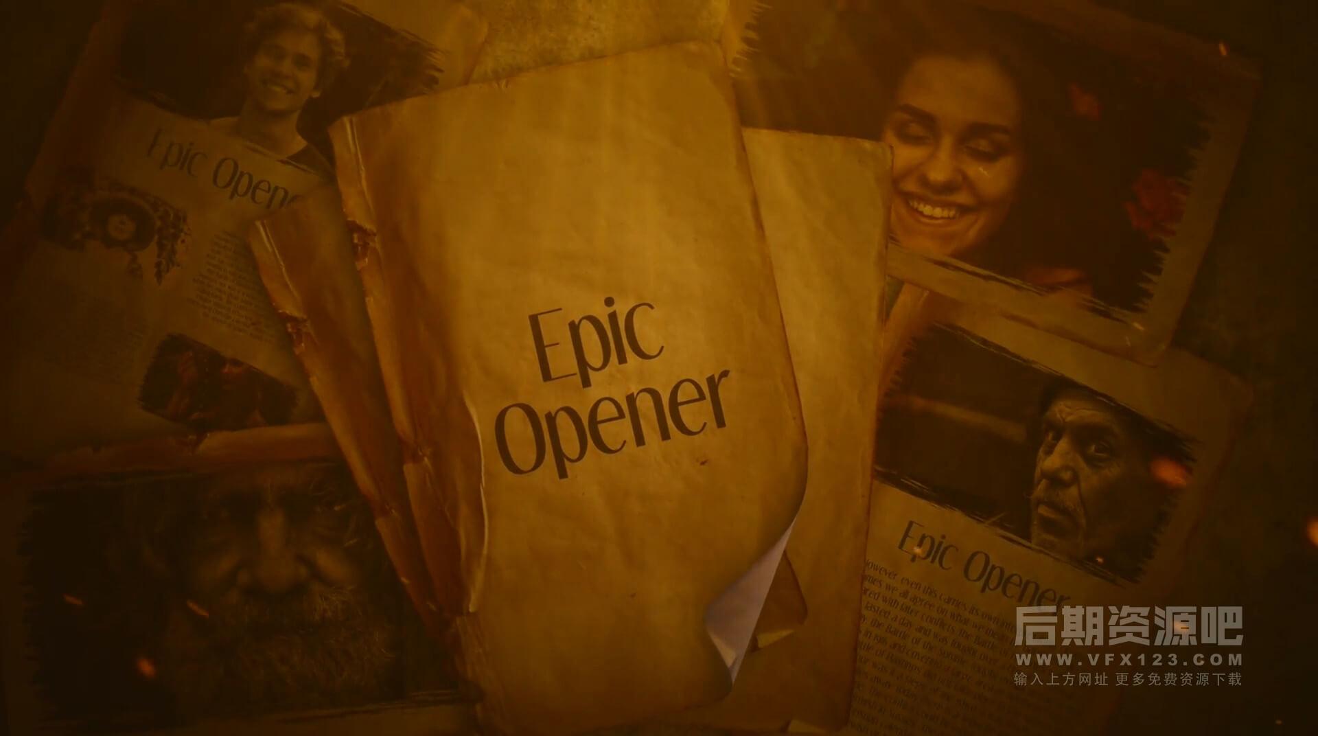 Fcpx主题模板 史诗大片历史回忆录纪念册年会模板 Epic Opener