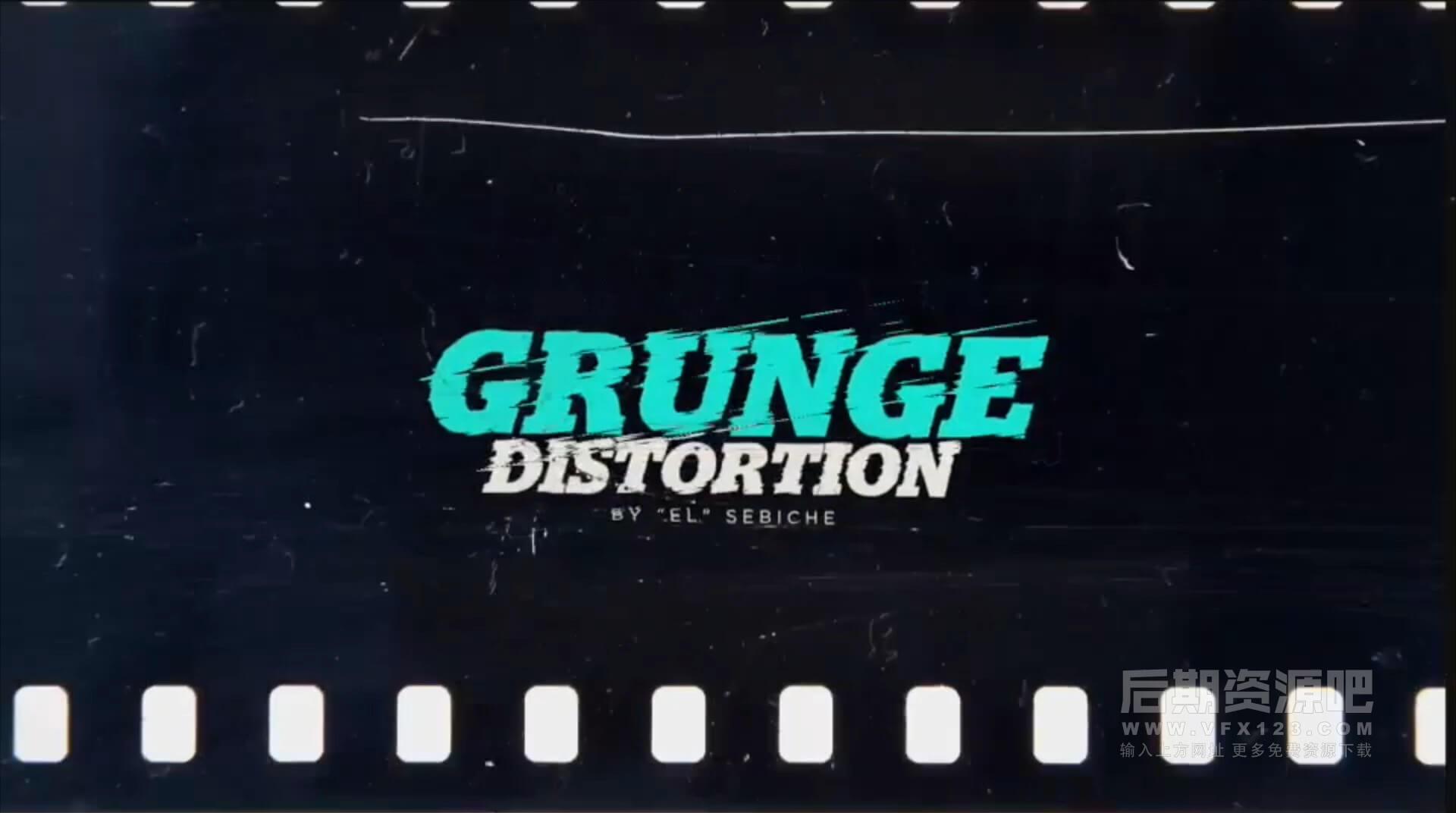 Motion模板 信号干扰划痕色彩分离效果片头展示模板 Grunge Distortion