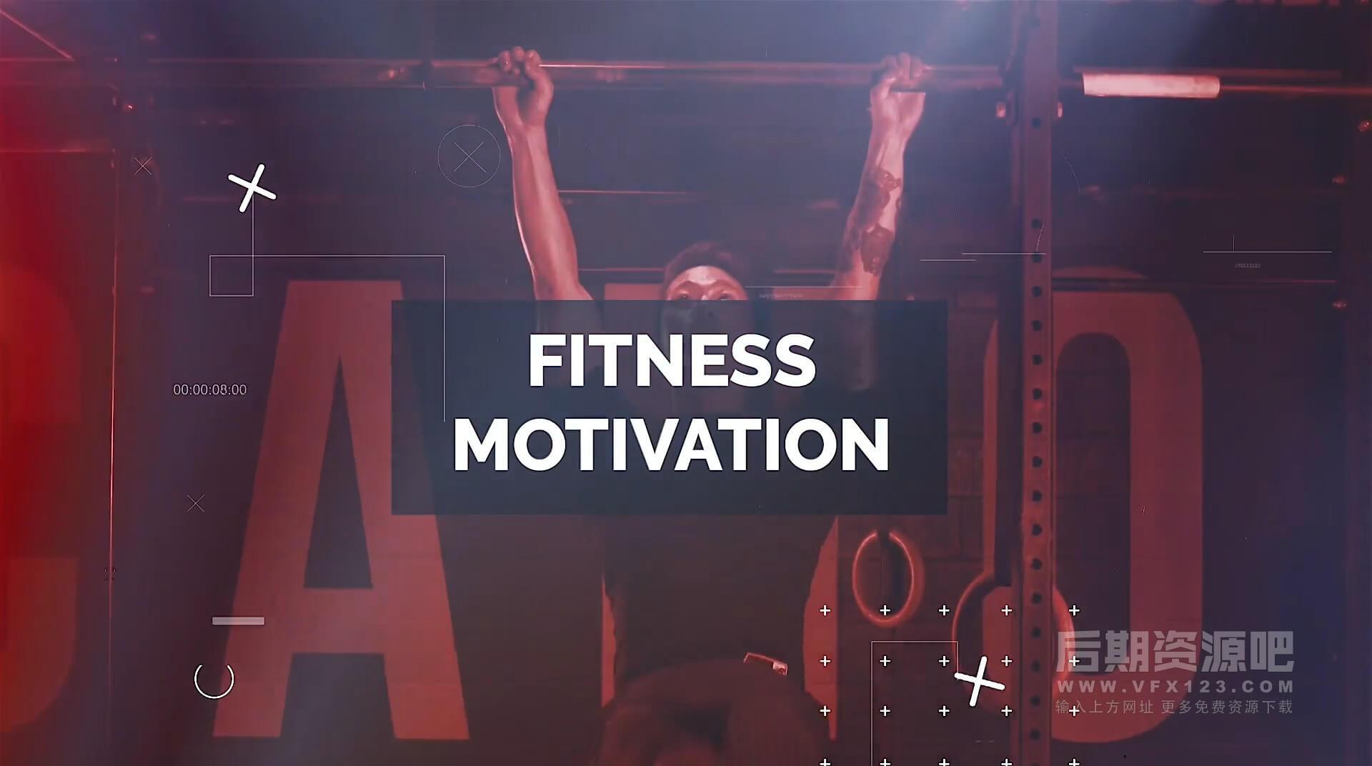 Fcpx主题模板 体育运动竞技流行故障干扰效果片头开场 Fitness Motivation
