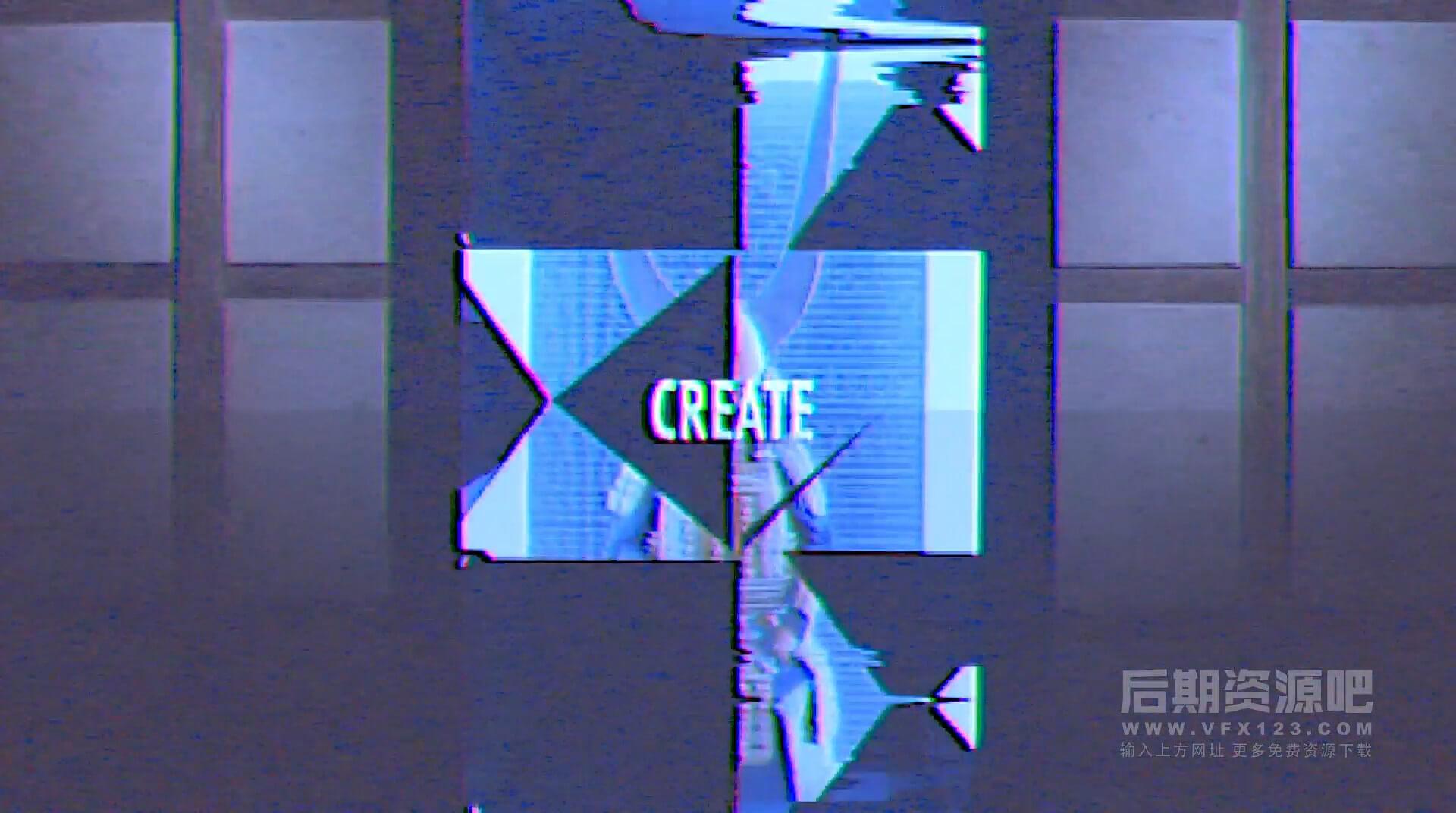 Fcpx主题模板 劲爆活力故障干扰抖音色彩分离效果片头 Energetic Opener