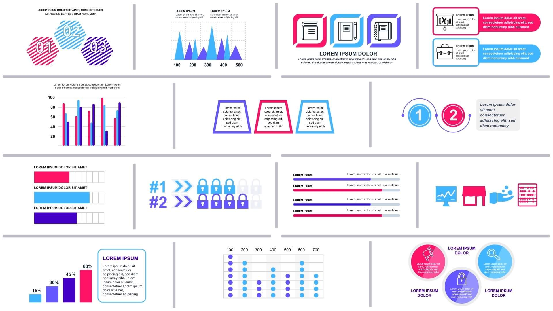 Ae模板 42组现代简洁平面化信息图表集合 第六季 Infographics Vol.6