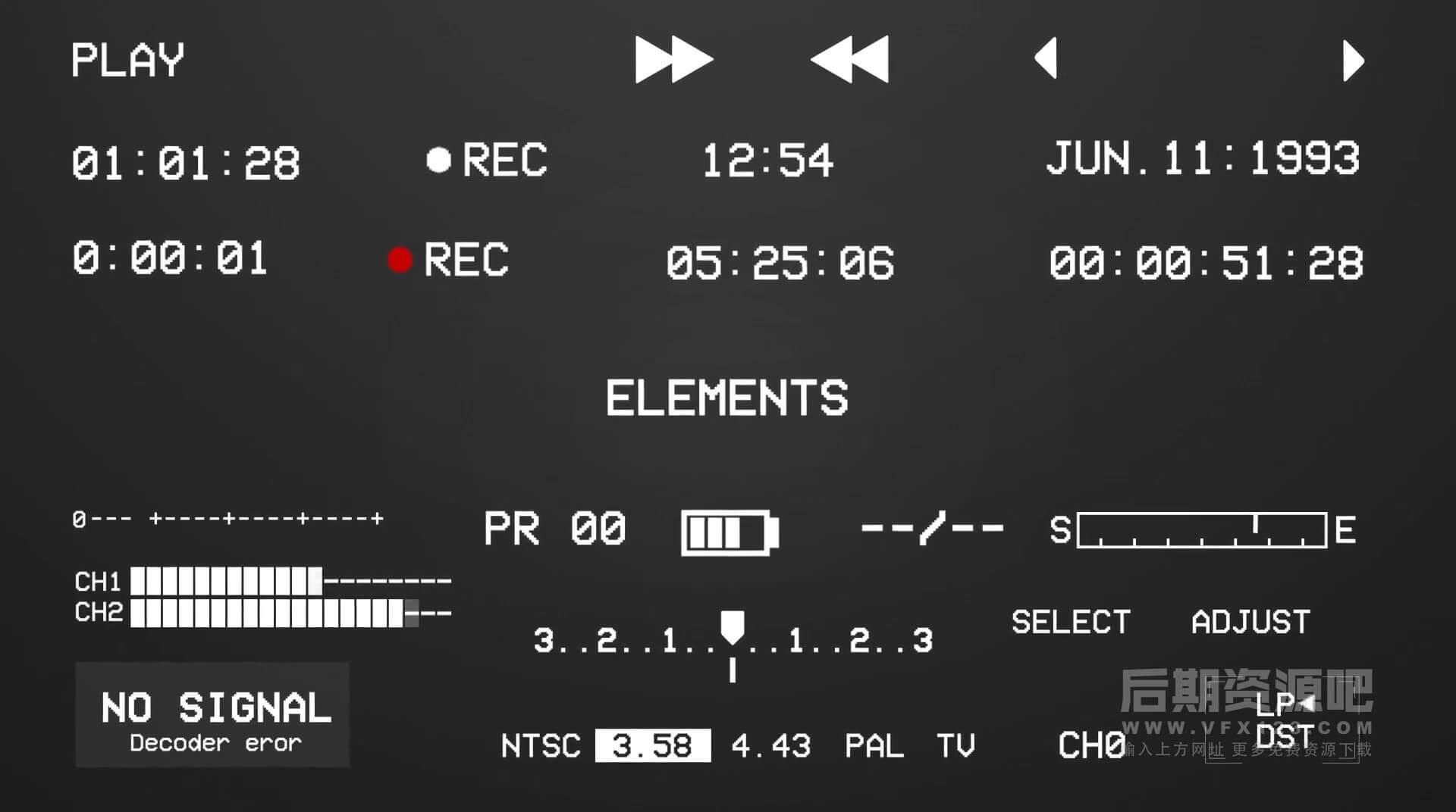 Ae模板 200+复古老旧数字信号失真故障元素 支持竖屏 VHS PACK